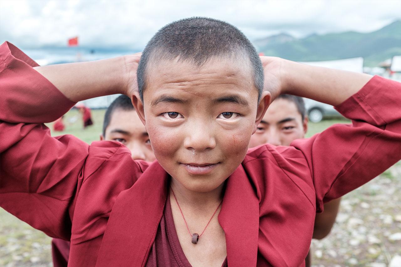 tibetan monks posing for portrait