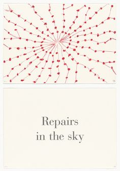 Repairs in the Sky , no. 3 of 9, from the series,  What Is the Shape of This Problem?,  Letterpress and Lithograph, 1999.