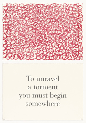 To Unravel a Torment You Must Begin Somewhere , no. 8 of 9, from the series,  What Is the Shape of This Problem?,  Letterpress and lithograph, 1999.