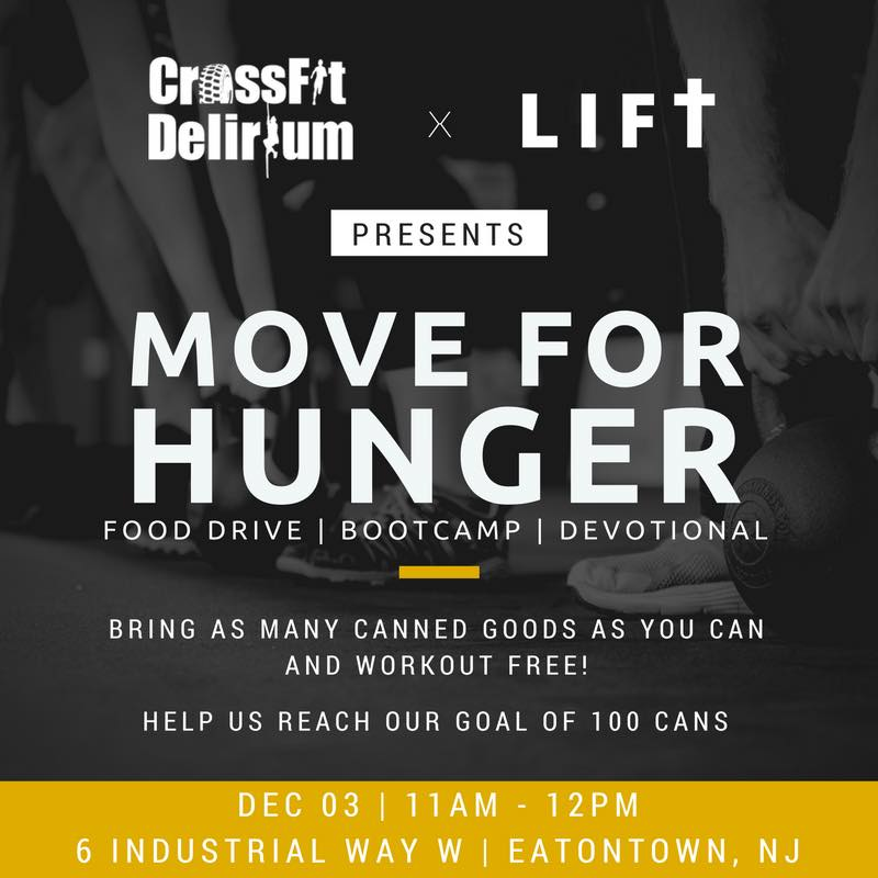 "Join us Saturday Dec 3rd @ 11 am as we host a canned food drive with Crossfit Delirum. Bring In some canned goods and get a free ""bootcamp"" workout. At 12pm we will get together for a mini devotional. Let's reach our goal of a 100 cans !! All canned goods will be donated to the ""Move for Hunger"" foundation. All are welcome and we Hope to see you there"