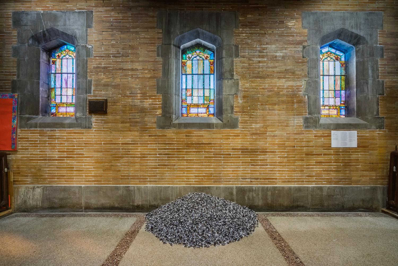 """Untitled"" (Public Opinion, by Felix Gonzalez-Torres at St. Philip's Church. Photo: Kristopher McKay, copyright Guggenheim Museum"