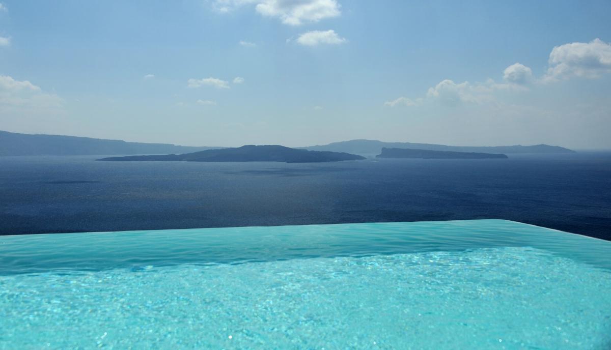the beautiful aegean sea as viewed from santorini