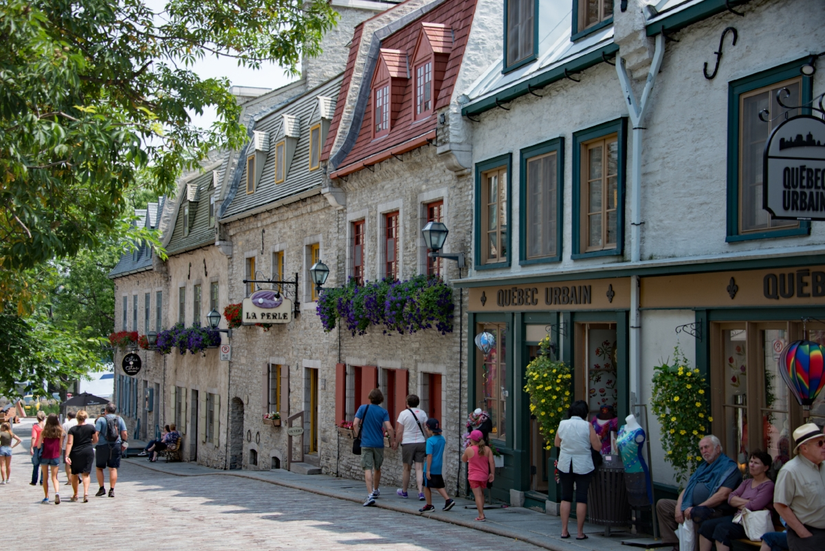 Tourists enjoying one of the quaint streets in old Quebec.