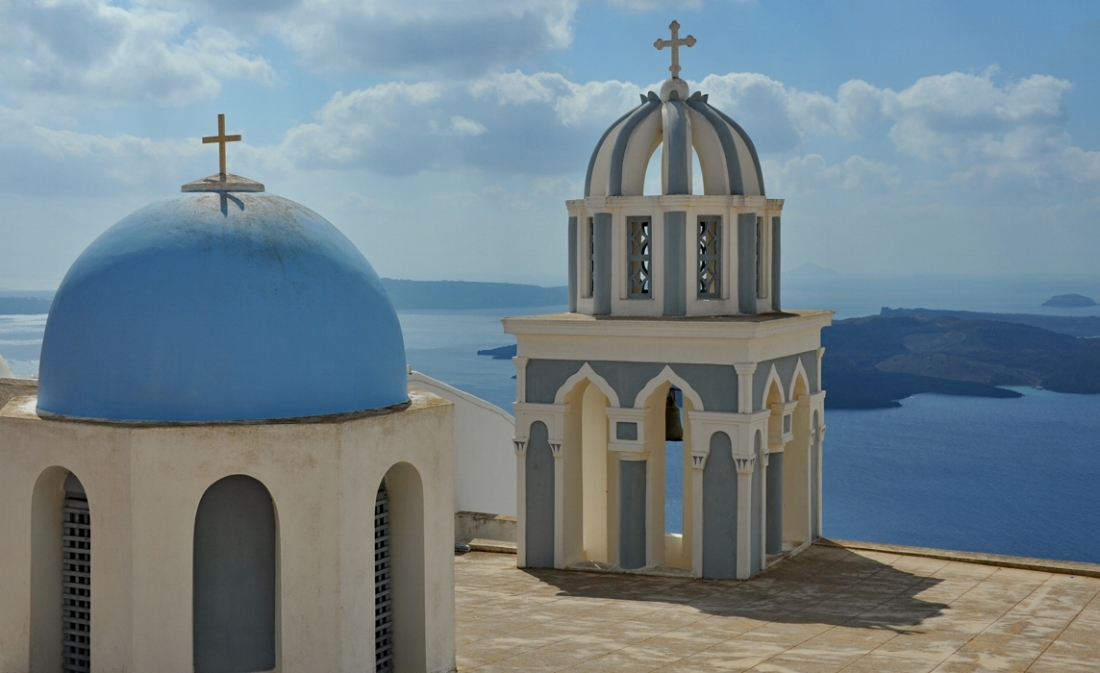 One of the many blue domed churches on the island.