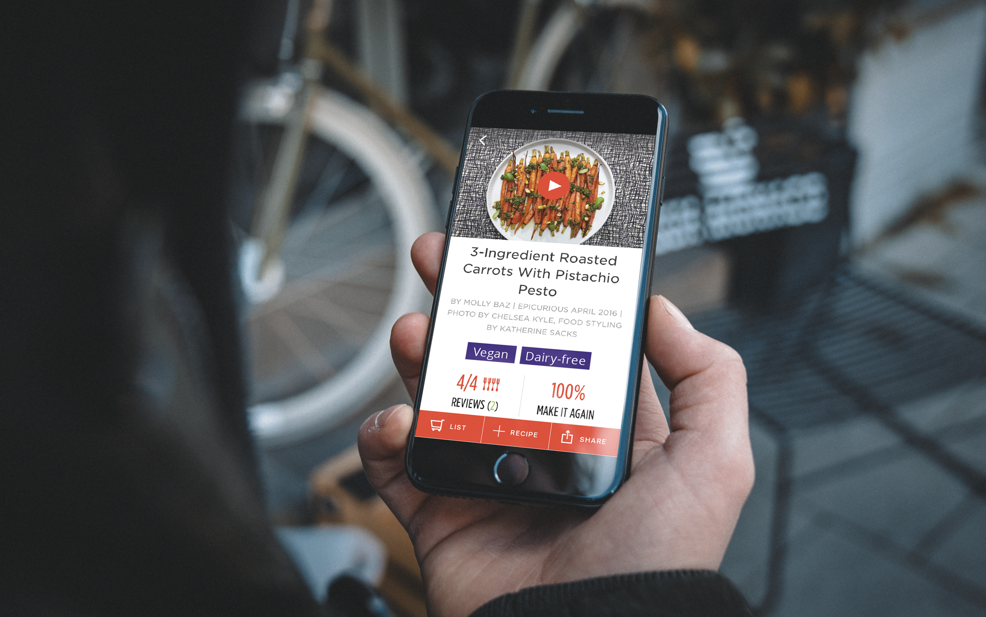 An updated prototype of the Epicurious app