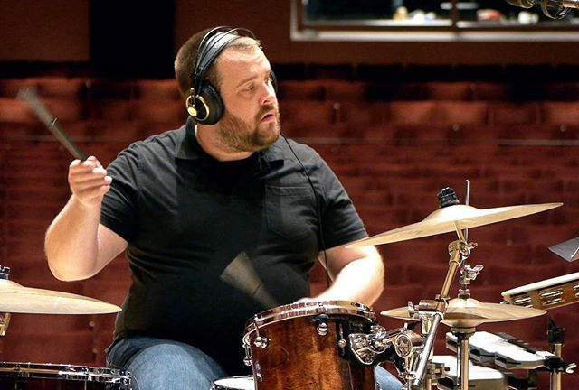 "#percussionist Brady Spitz during the recent recording session for Joshua's song ""The Rules"" 🥁🔥"