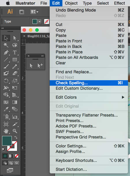 where to find the Spellcheck function in Adobe Illustrator