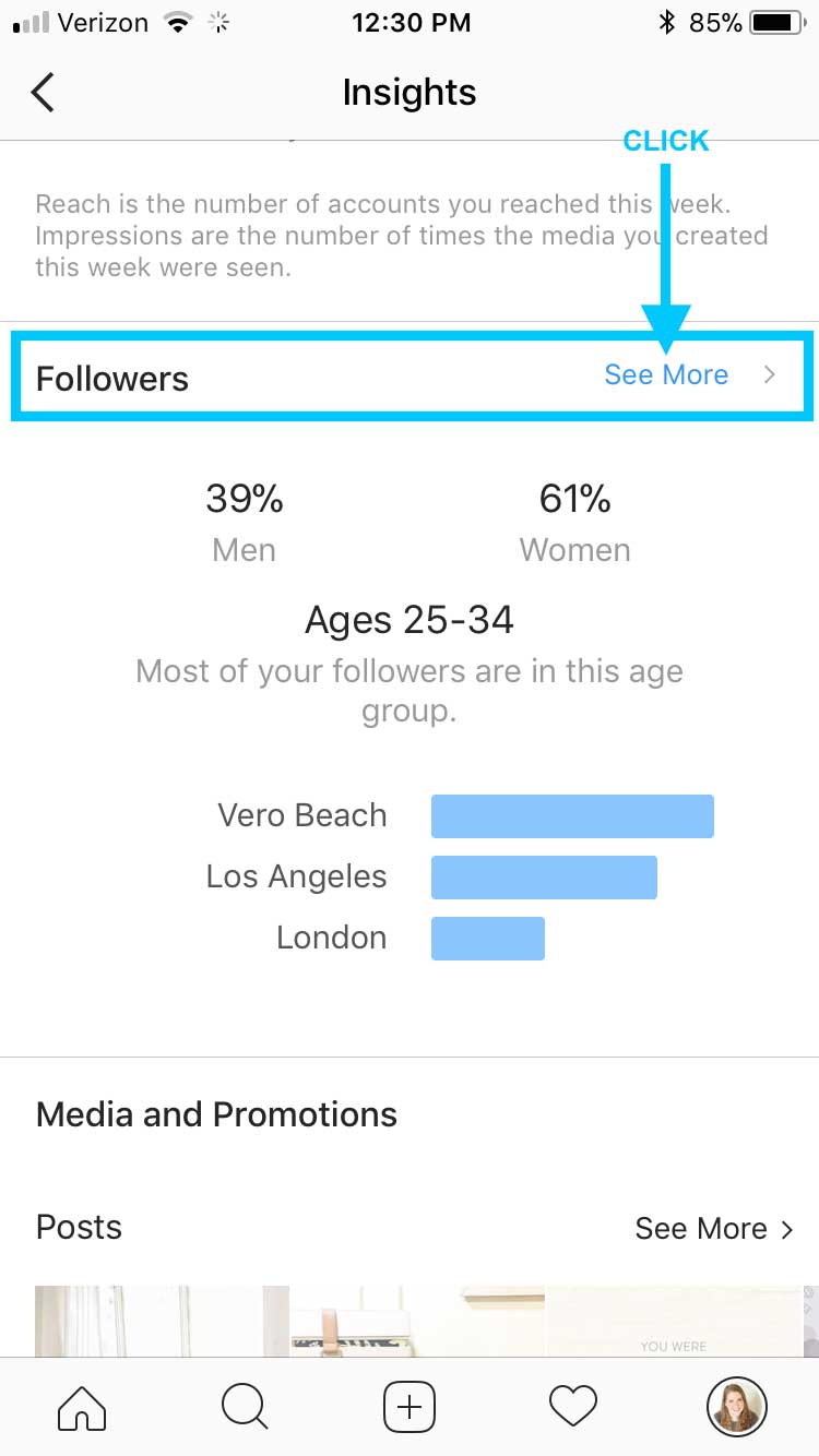 Then scroll down to the  Followers  section, and click  See More .