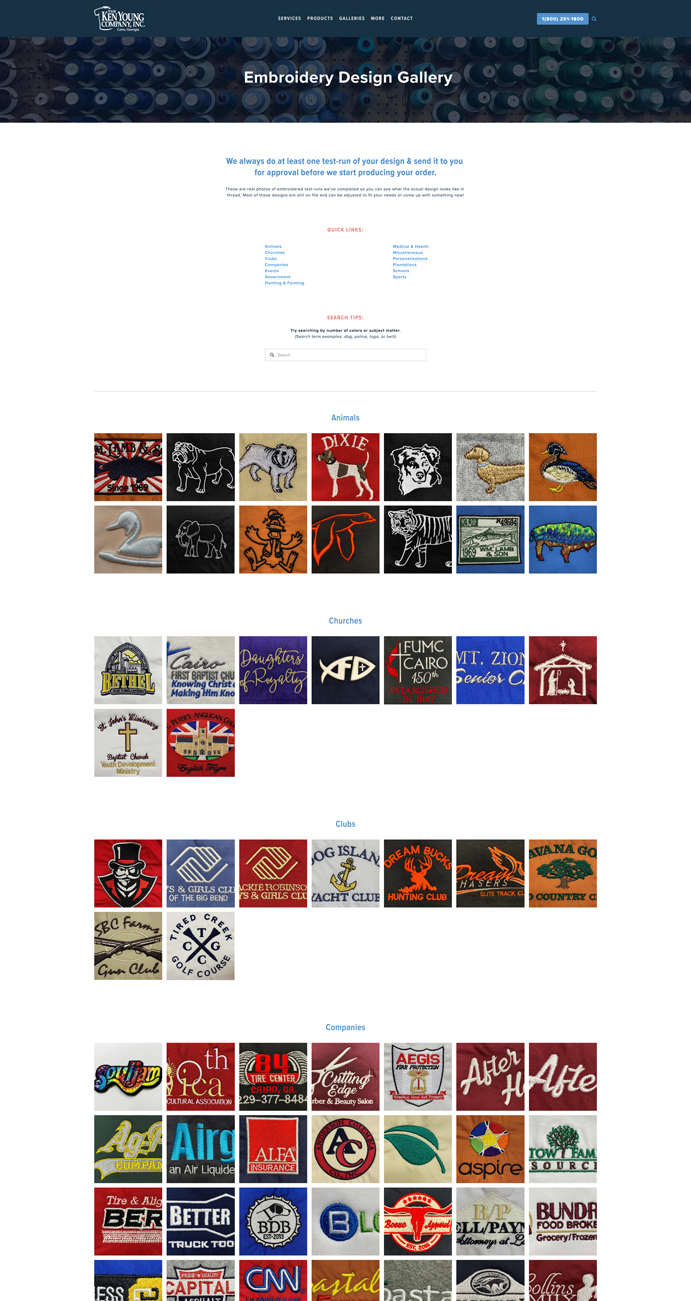 """With around 300+ designs to peruse, long scroll pages like these have tons of """"jump links"""" to help viewers move around the page easily; click anything in the Quick Links section to jump to that area, or use the Back to Top button in the bottom right corner to get back to the Quick Links menu at the top.  The gallery is also searchable based on a content description or related keywords to help viewers search through the gallery easily."""