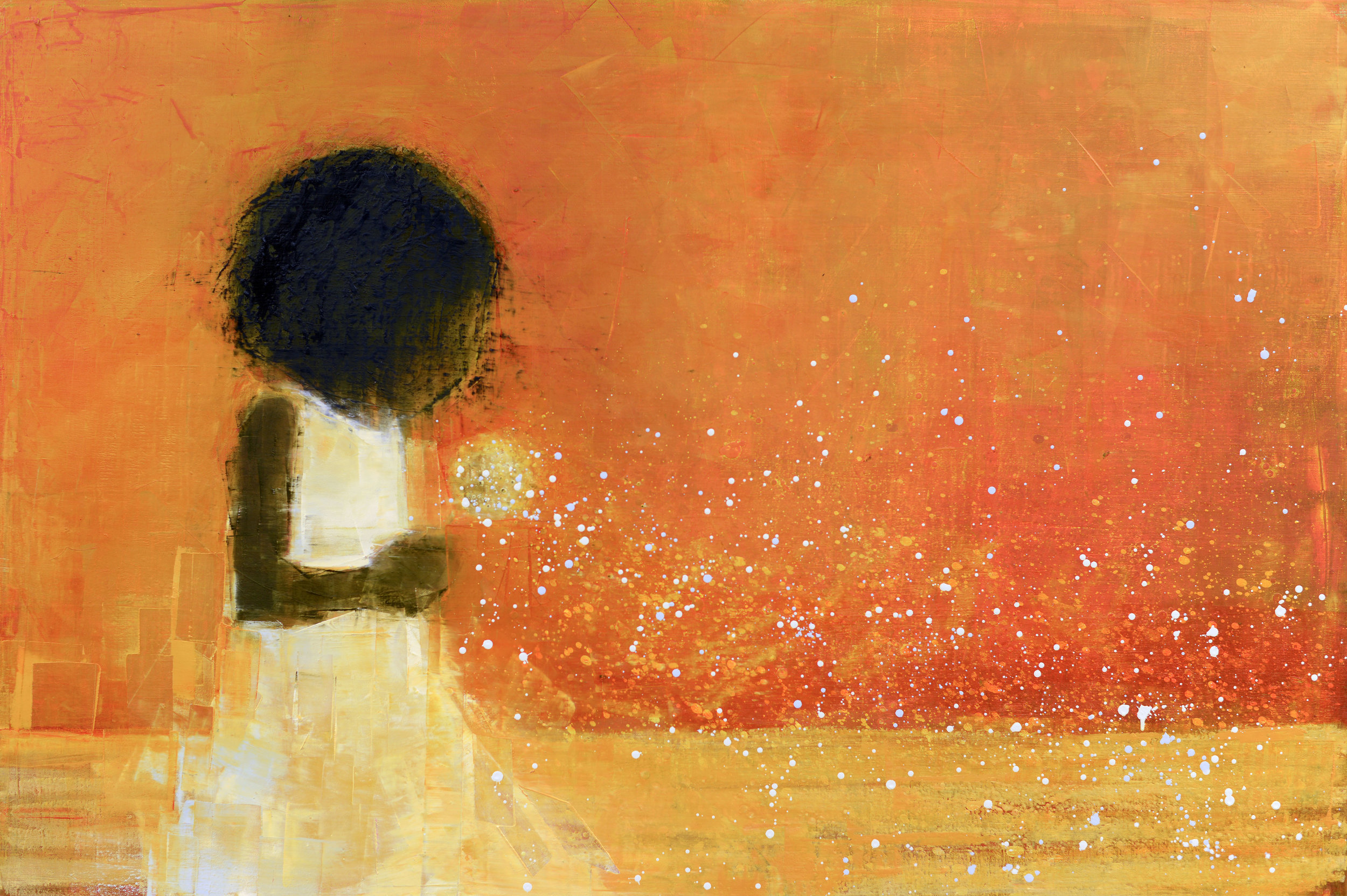 WISH (GOLDEN FIELD)   -PRIVATE COLLECTION-  40 x 60 inches  oil and wax on linen