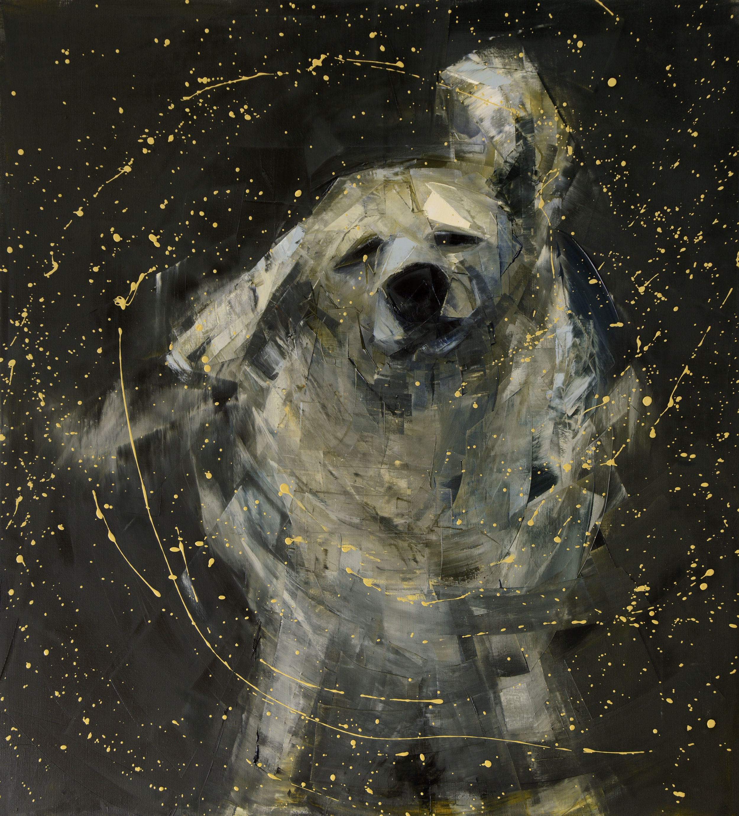 SHAKE NO. 3 (BLACK AND GOLD)   -PRIVATE COLLECTION-  64 x 58 inches  oil and wax on linen