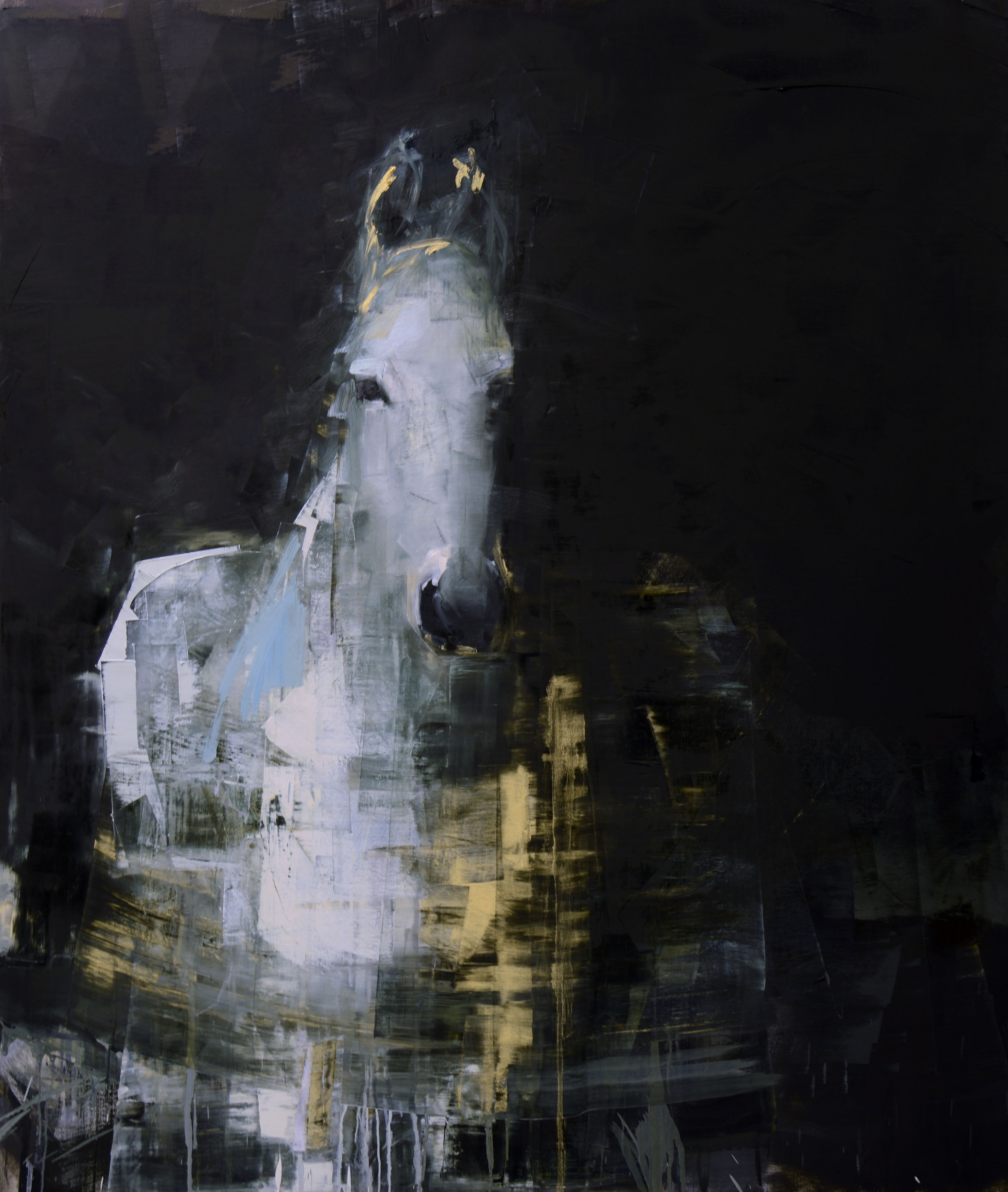 WHITE HORSE NO. 4   -PRIVATE COLLECTION-  70 x 59 inches  oil and wax on linen