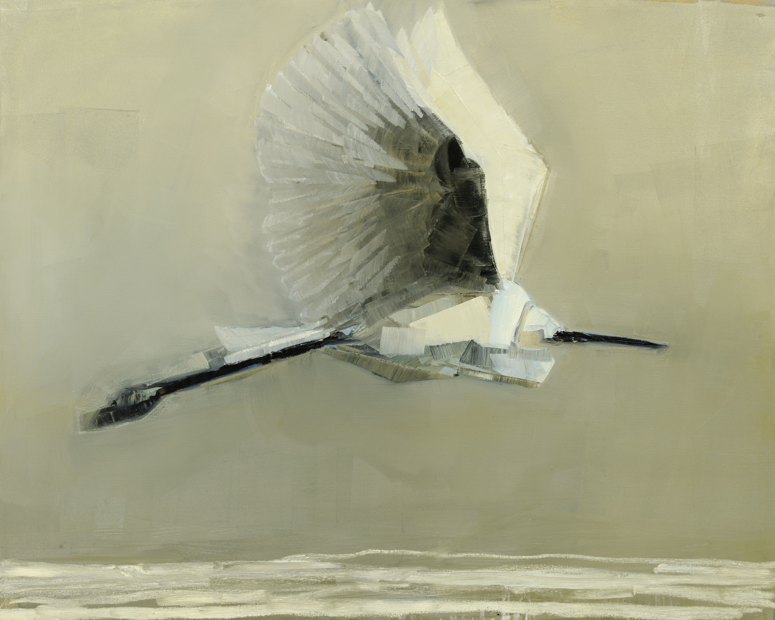 ERGET IN FLIGHT   -PRIVATE COLLECTION-  48 x 60 inches  oil and wax on linen