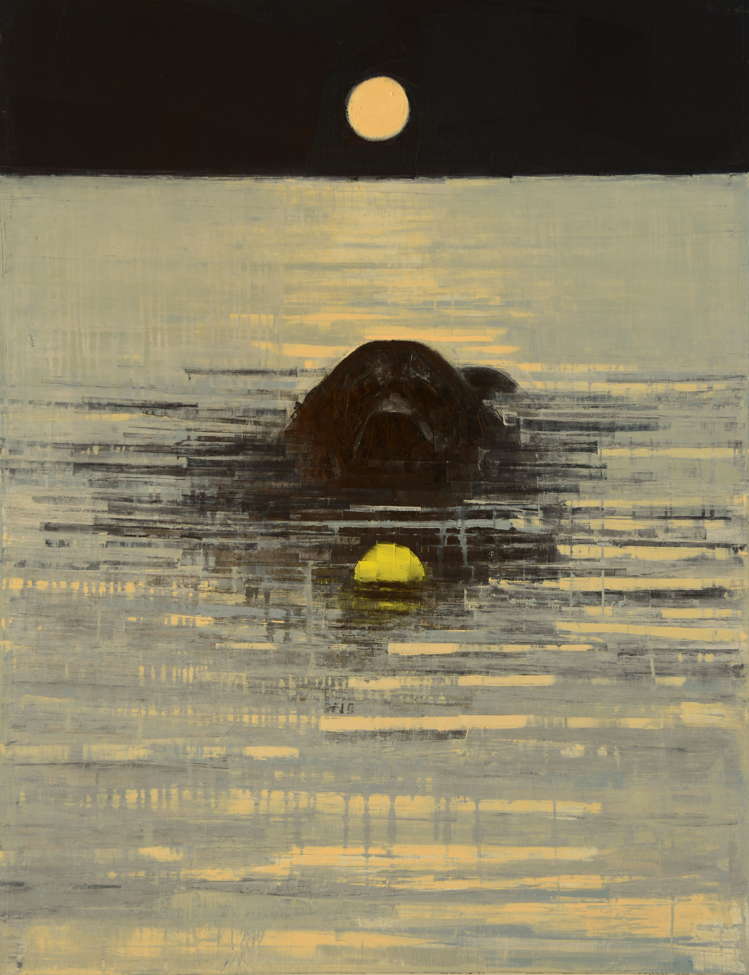 FETCH (FULL MOON)   -PRIVATE COLLECTION-  54 x 42 inches  oil and wax on linen
