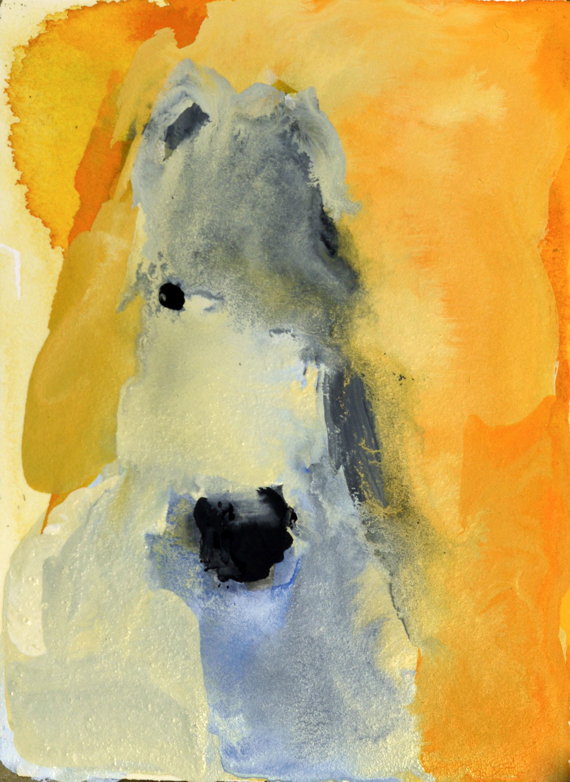 Rebecca Kinkead White Horse (on Orange)_4x3 inset on 11 x 7.5 paper.jpg