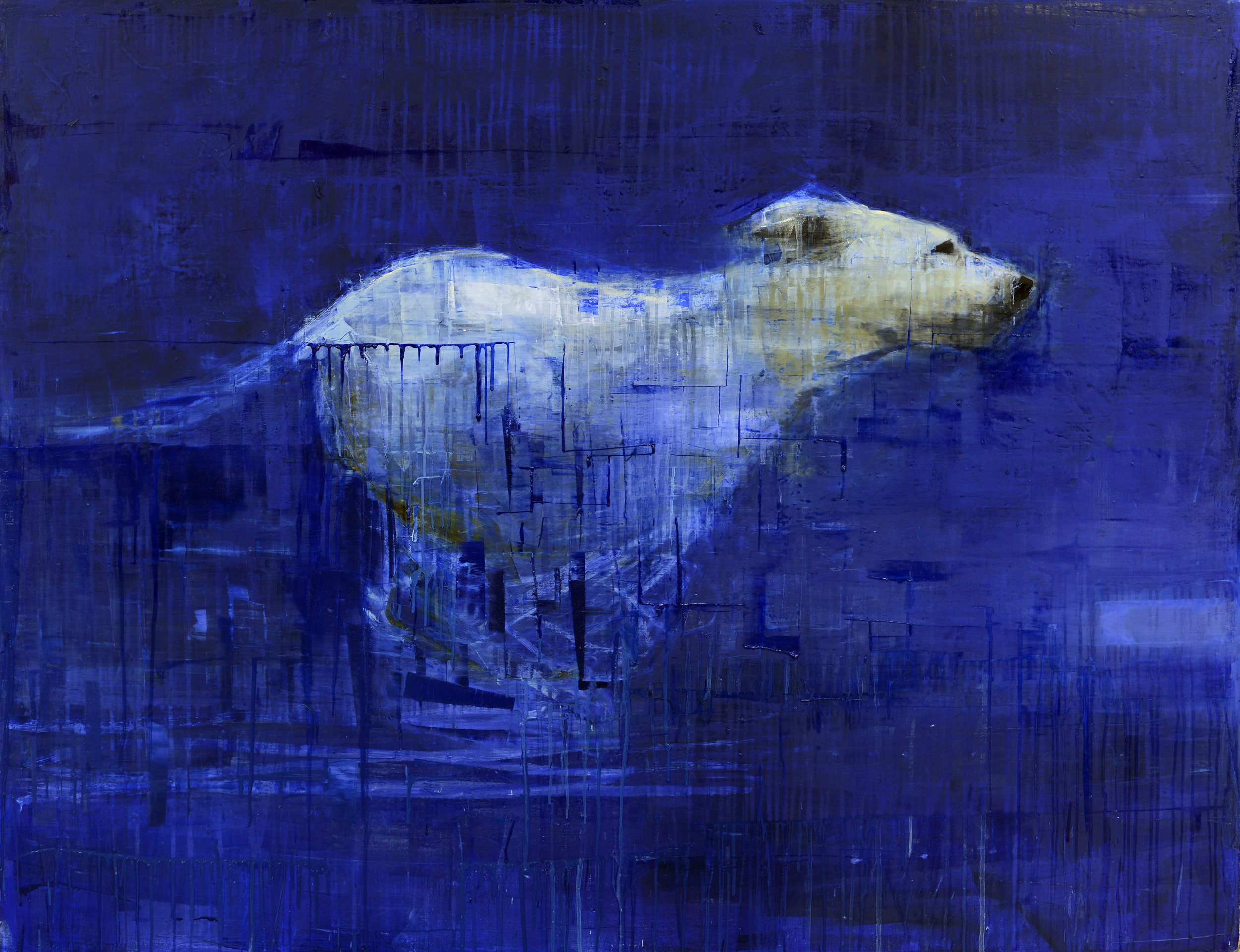 RUNNING DOG (DEEP BLUE YONDER)   -PRIVATE COLLECTION-  54 x 70 inches  oil and wax on linen