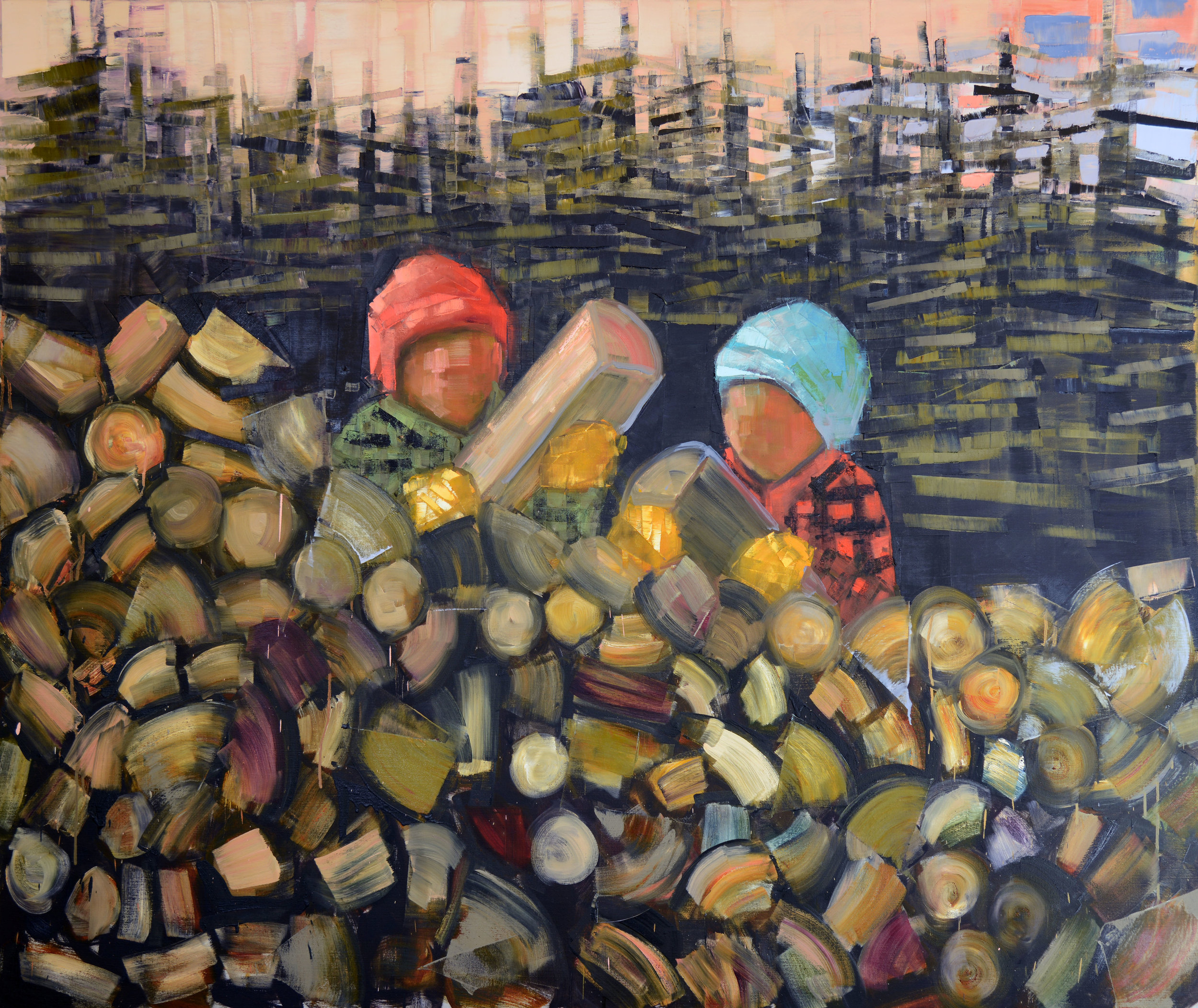 WOOD PILE (STACK)   -PRIVATE COLLECTION-  59 x 70 inches  oil and wax on linen