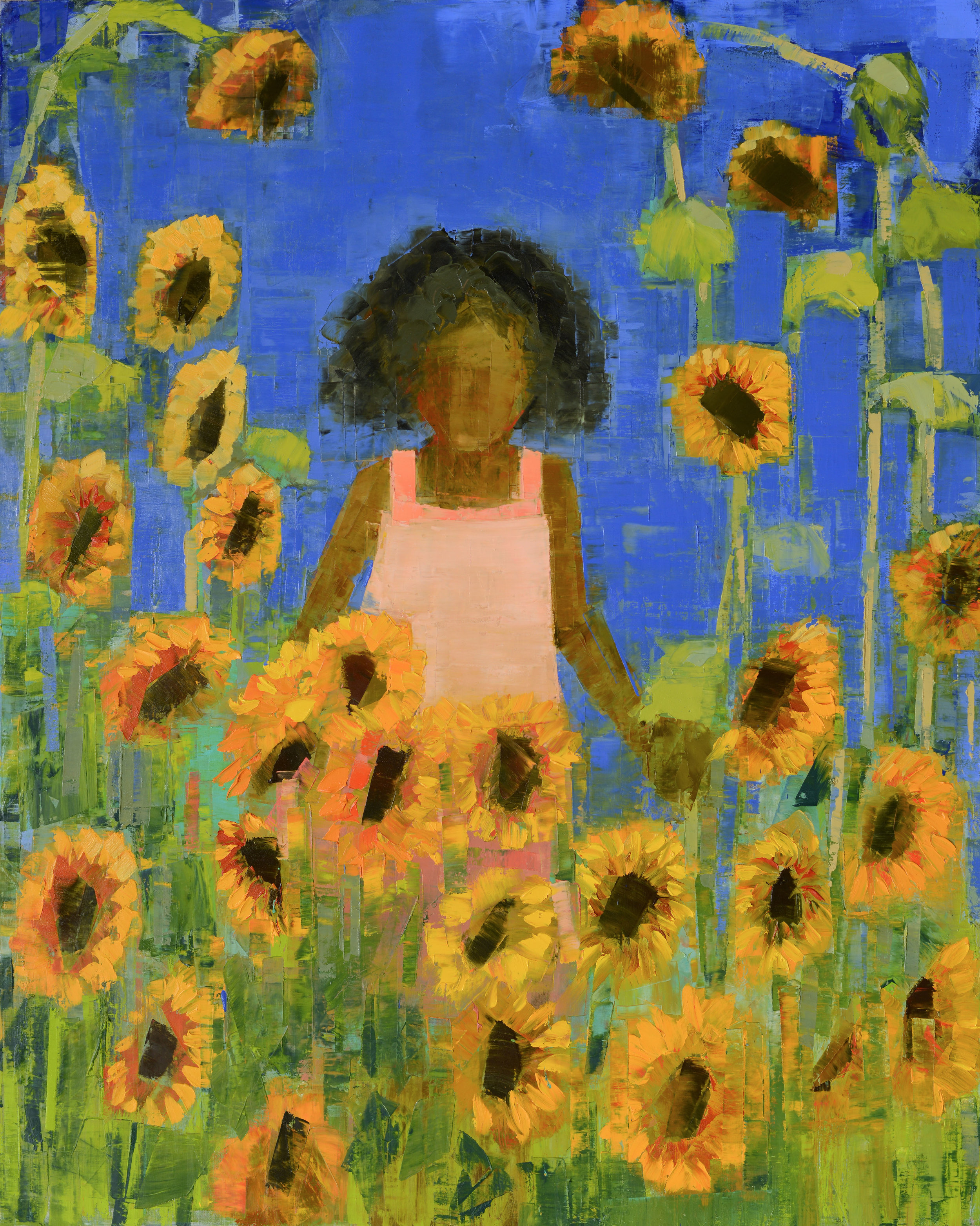 TRAVELER (SUNFLOWERS)   -PRIVATE COLLECTION-  60 x 48 inches  oil and wax on linen
