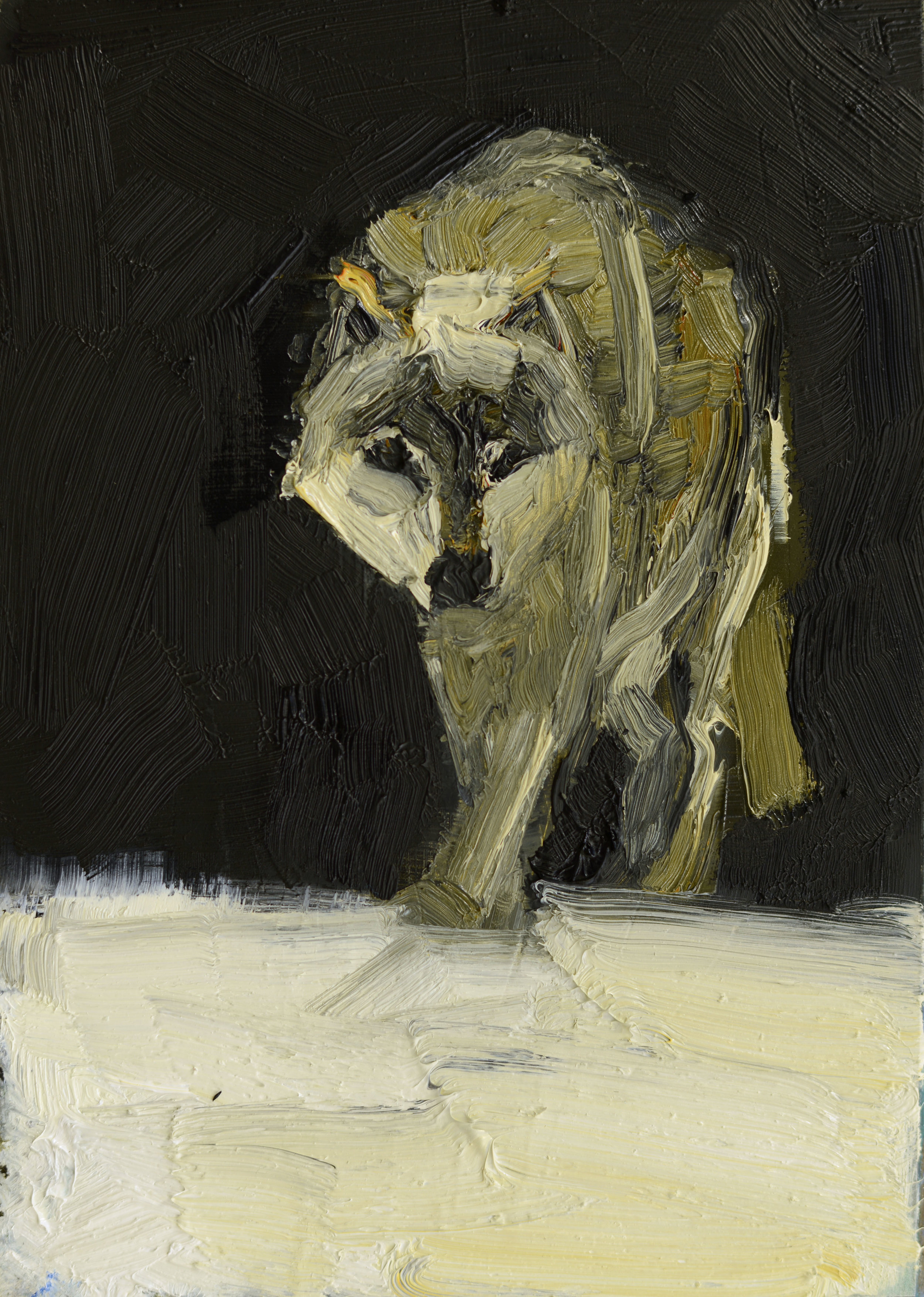 GREY WOLF   -PRIVATE COLLECTION-  7 x 5 inches  oil and wax on panel