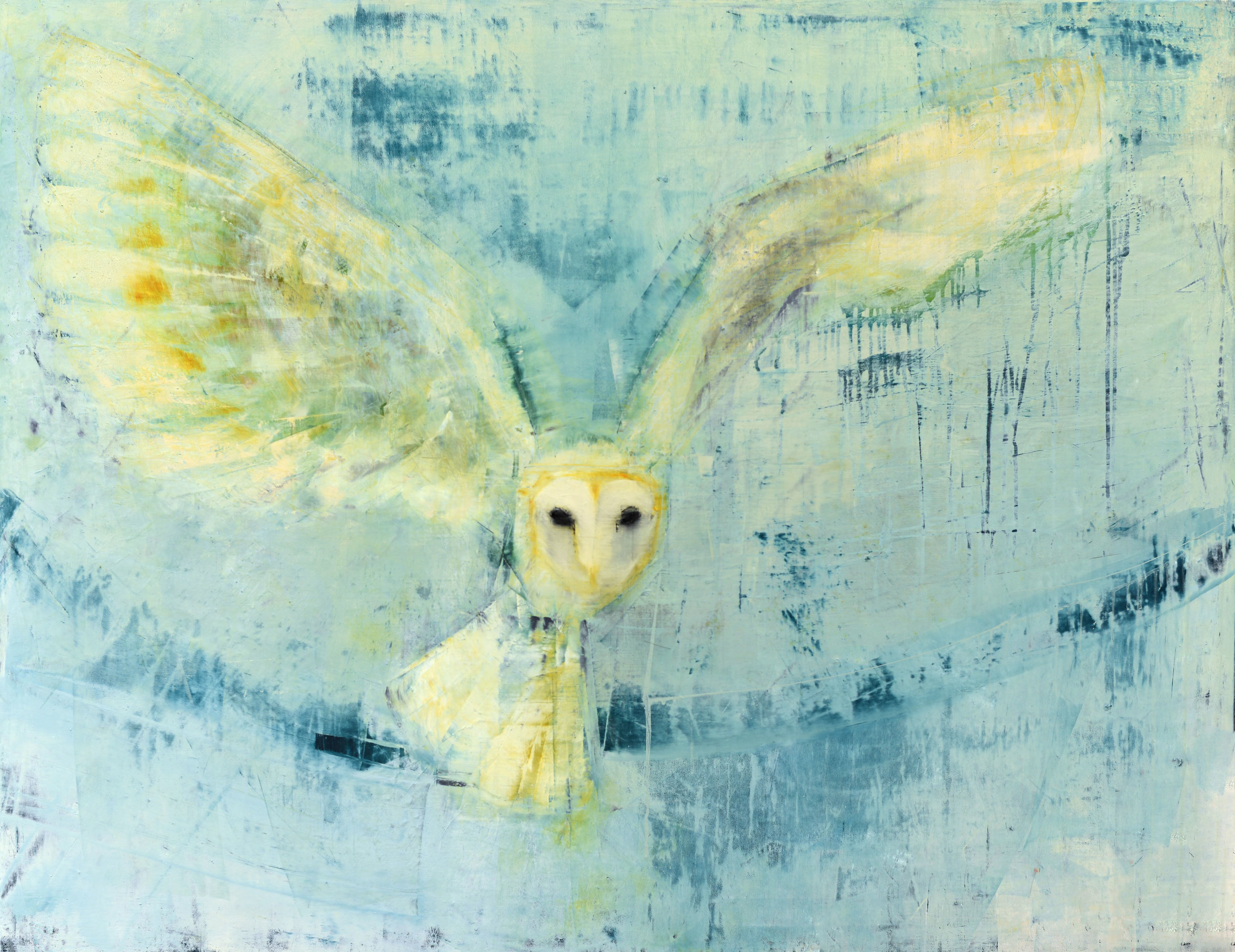 BARN OWL (BLUE YONDER)   -PRIVATE COLLECTION-  42 x 54 inches  oil and wax on linen