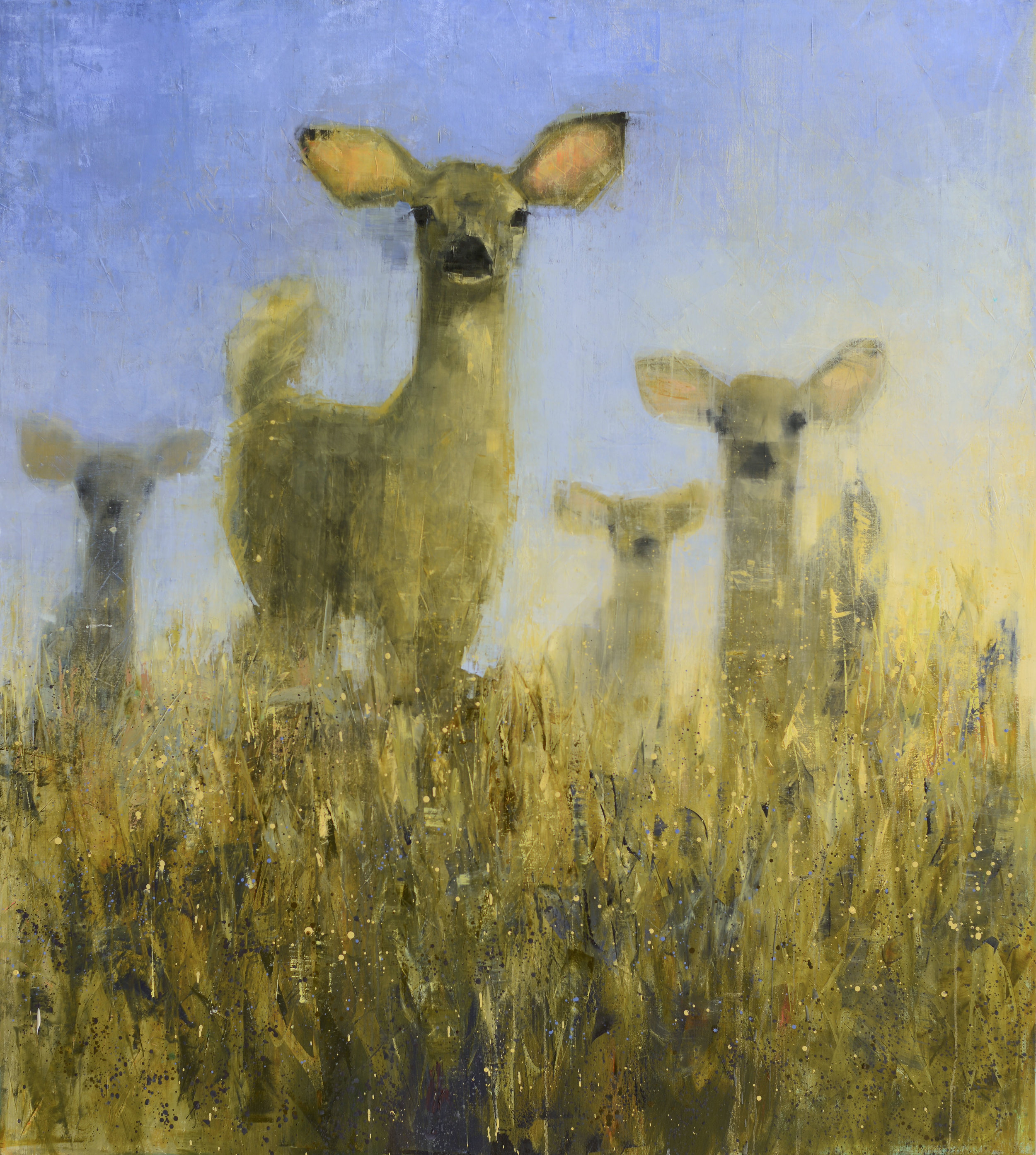 DOE (GOLDEN FIELD)   -PRIVATE COLLECTION-  74 x 66 inches  oil and wax on linen