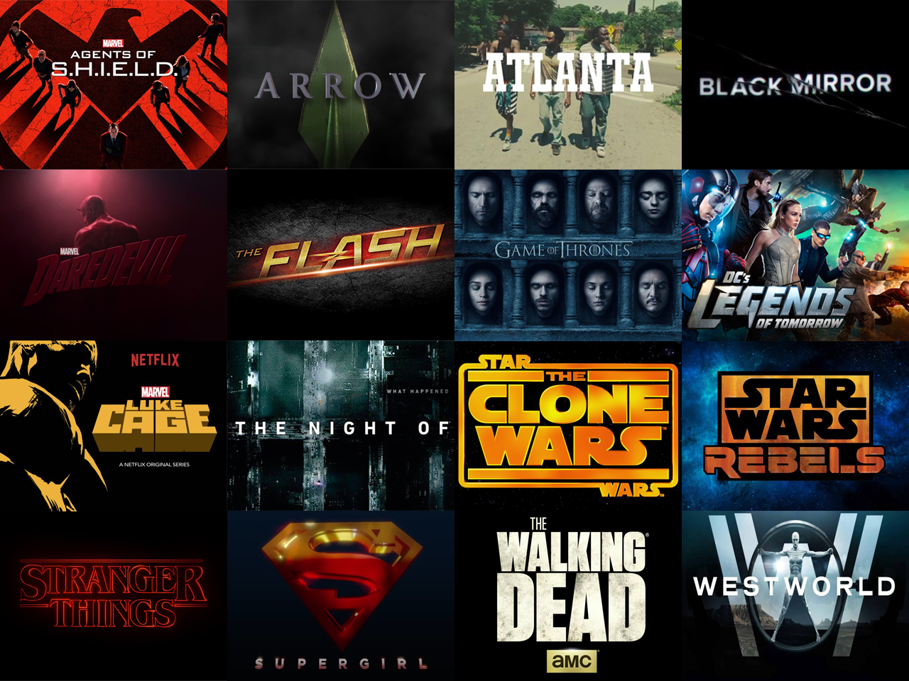 Here's all of the rare tv I watched last year. I usually choose to spend my time on watching movies rather than catch up on all the amazing shows that are out there, but was able to watch a few.  (in alphabetical order, left to right, descending):