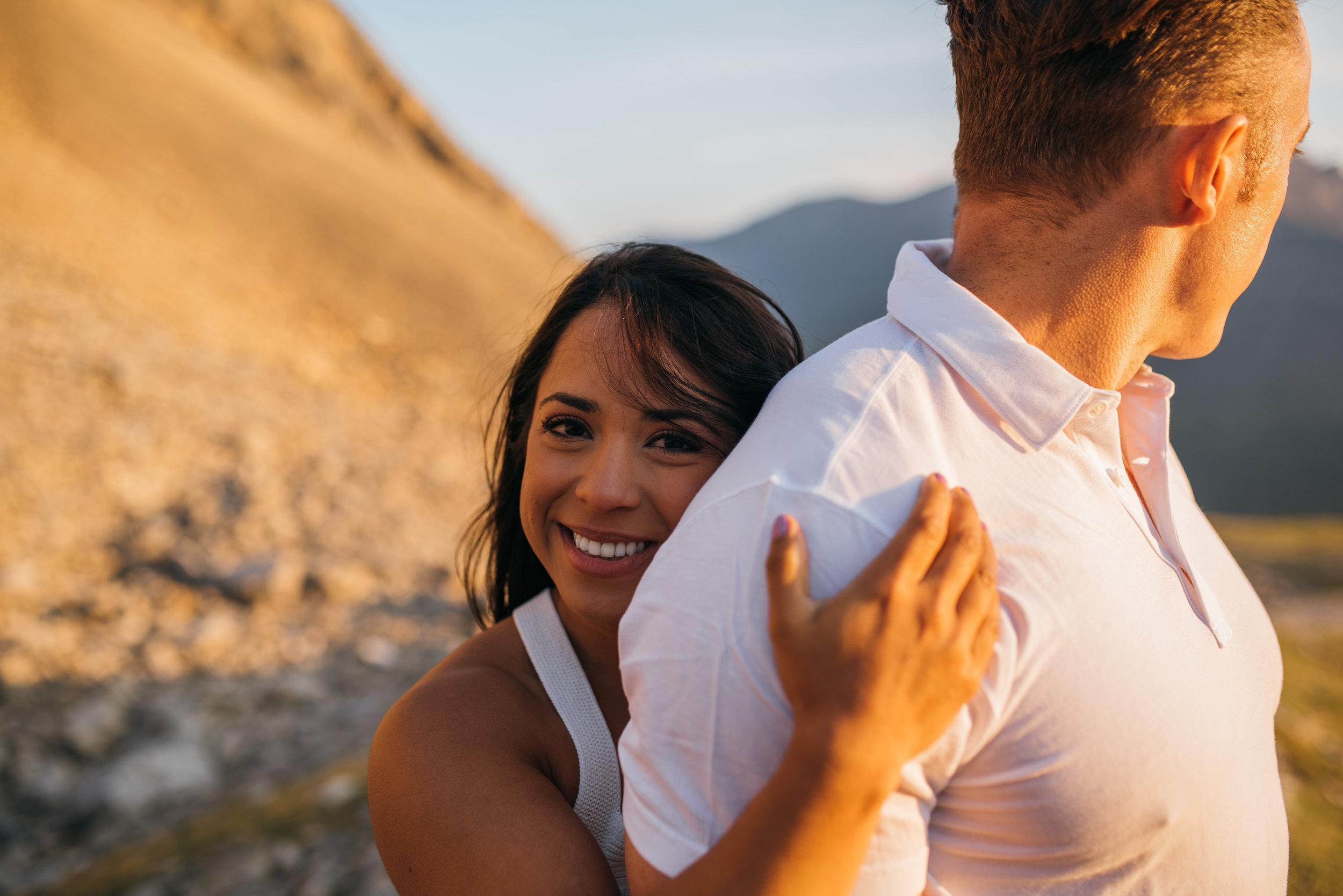 Kananaskis mountain engagement sunset gorgeous couple calgary wedding photographer banff rocky mountain photographer