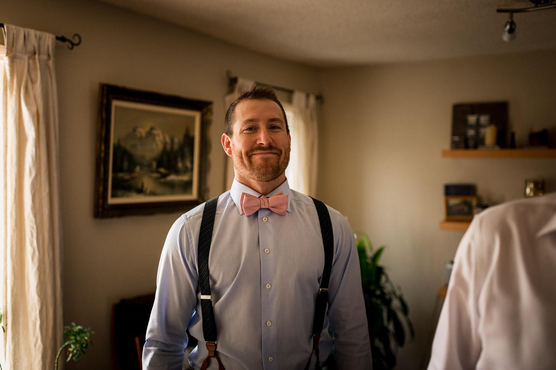 GQ groom getting ready rustic farm  wedding photos banff wedding photographer elopements