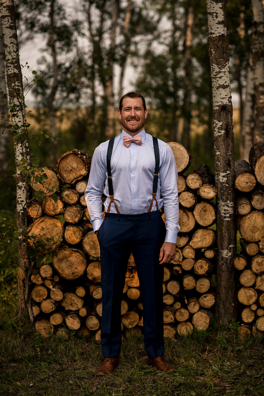 GQ rustic groom wedding photo Alberta Intimate Farm wedding calgary banff wedding photographer elopement
