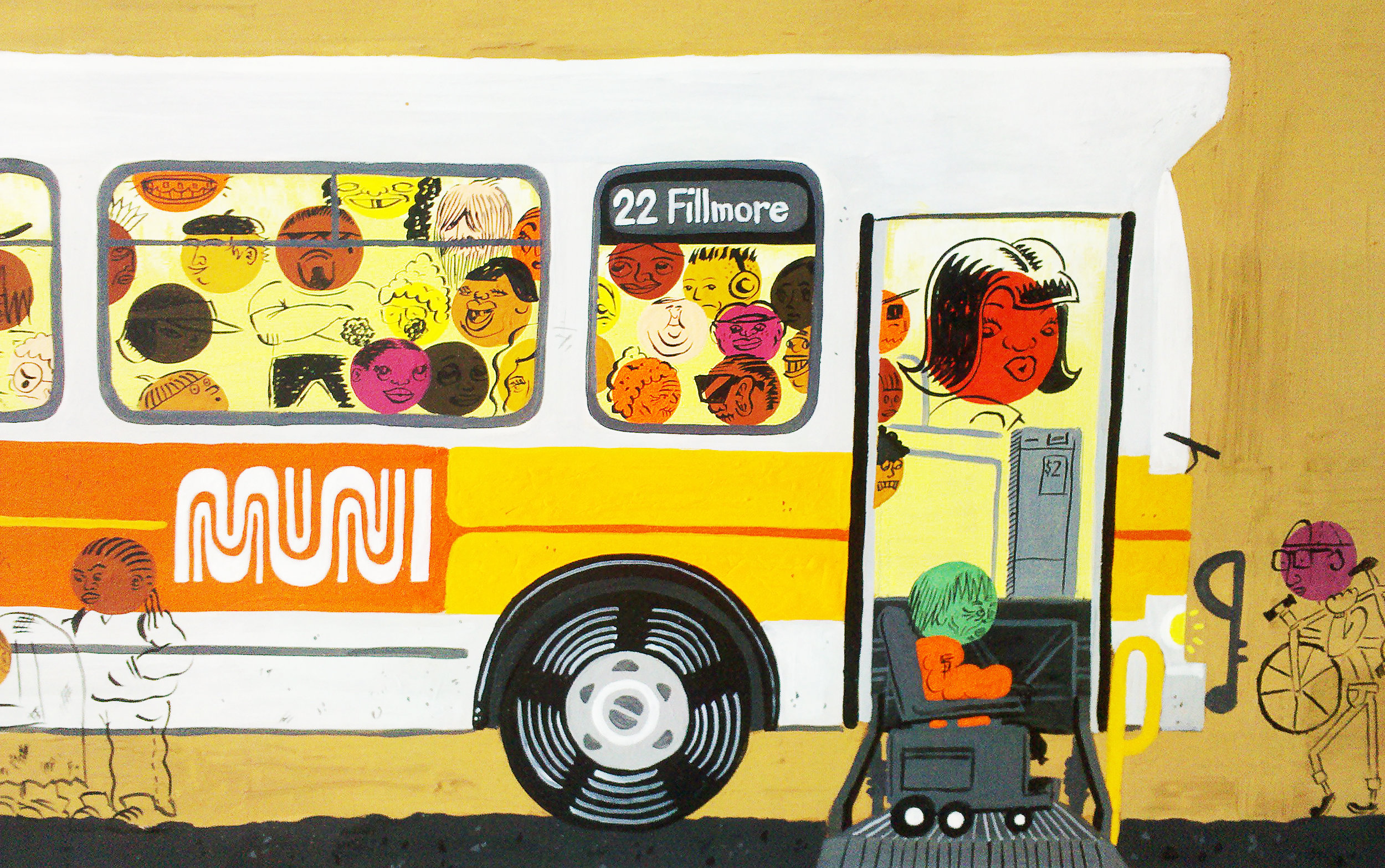 Art by  Andy Stattmiller, via Muni Diaries