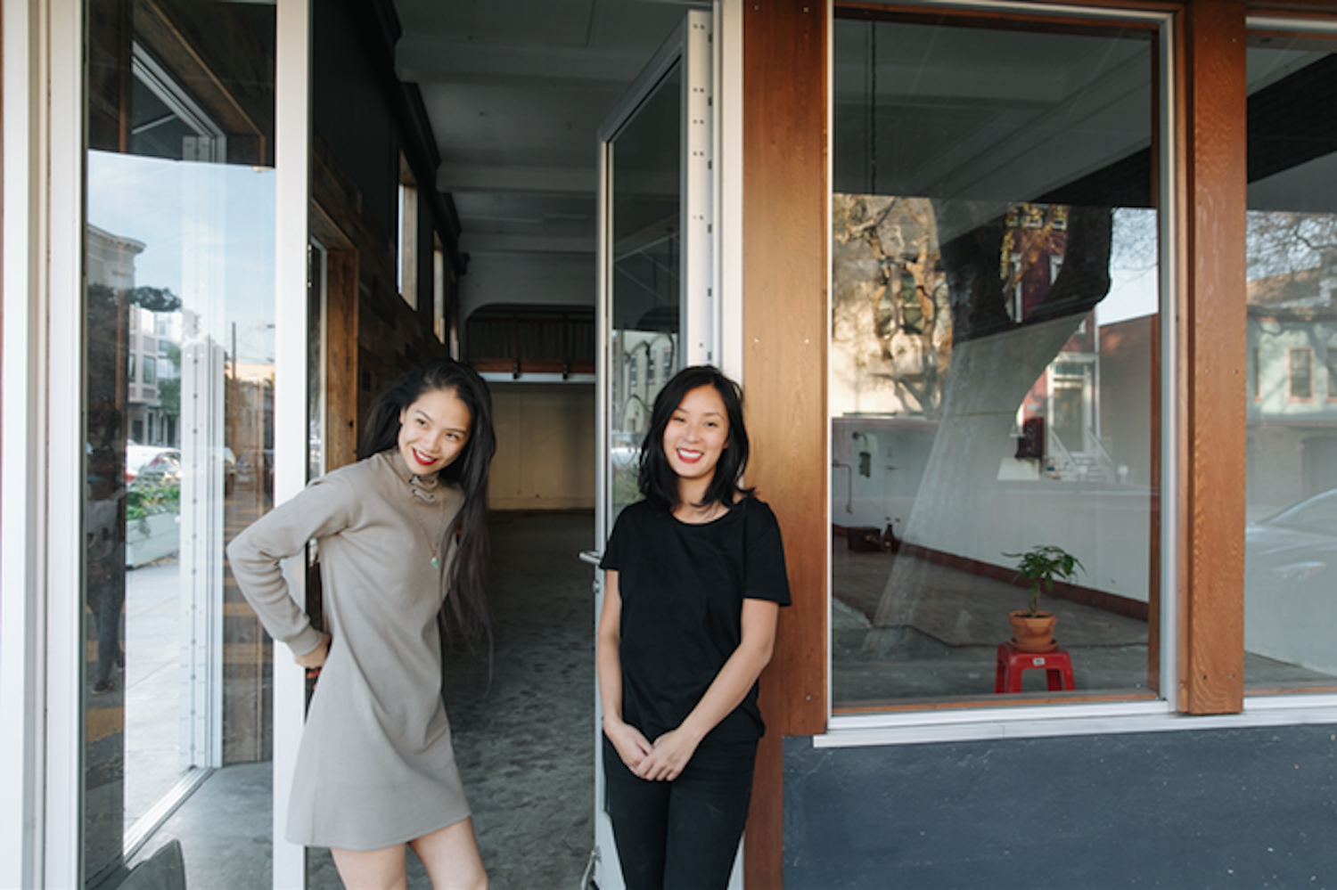 Katie Kwan and Valerie Luu in front of their future spot on Folsom.