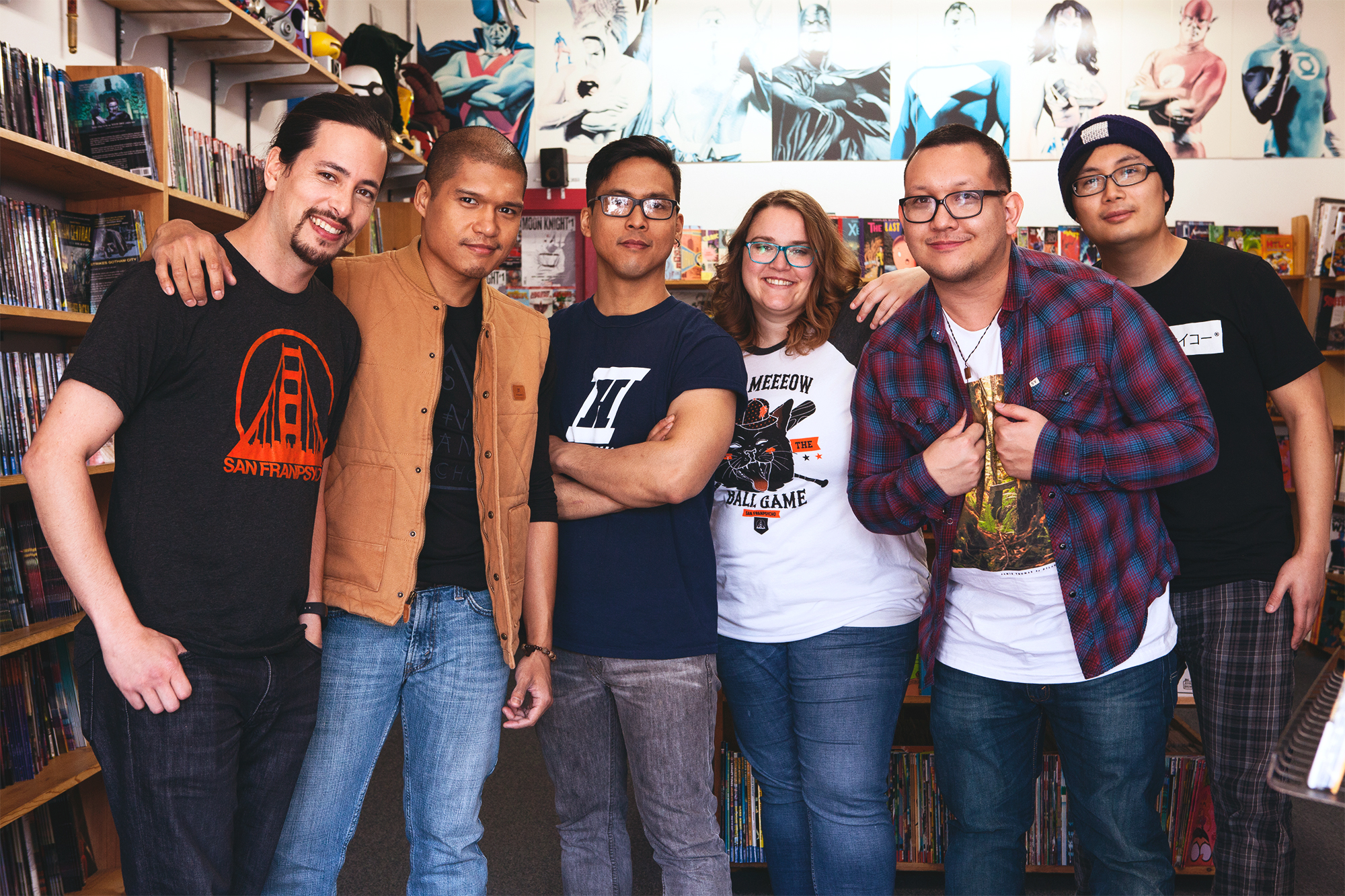 The In Hiatus team in their favorite comic shop in the Sunset, Amazing Fantasy.