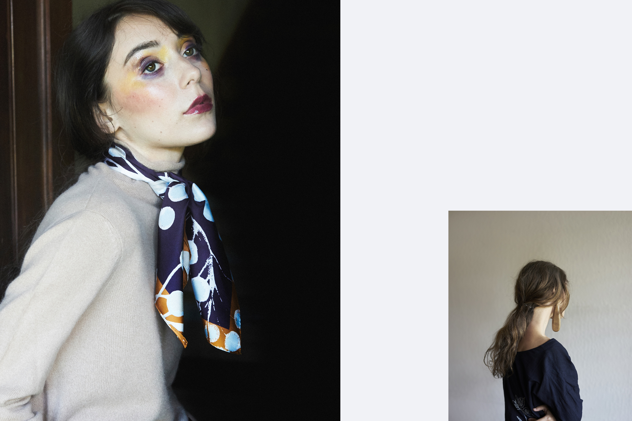 Left//Sweater—Margaret Oleary, Scarf—Epice / Margaret Oleary. Right// Dress—45R, Earring—Editor's own