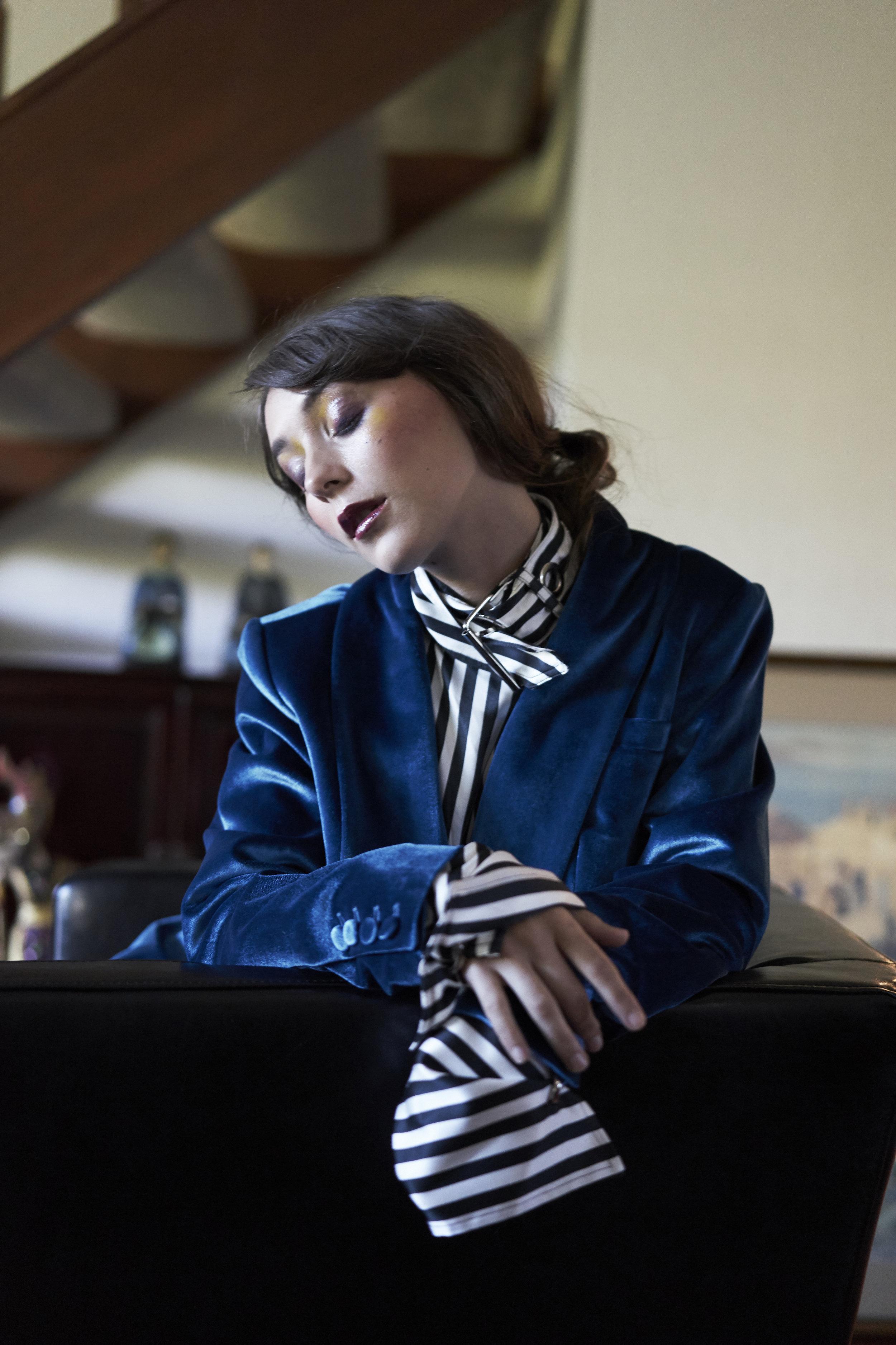 Jacket—Self Portrait / Elizabeth Charles, Shirt—Marques Almeida / Elizabeth Charles