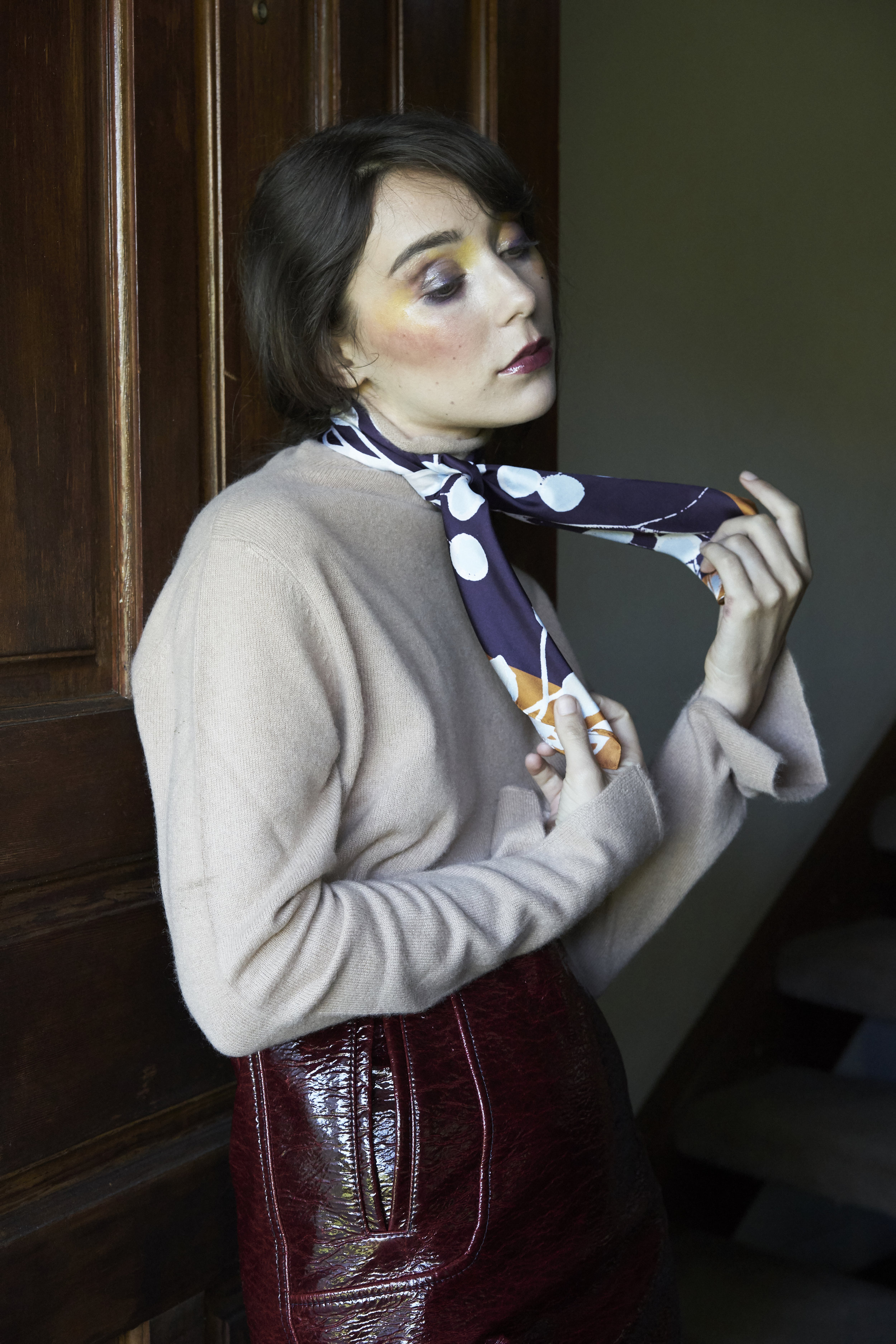 Sweater—Margaret Oleary, Scarf—Epice / Margaret Oleary,Skirt—H&M Studio