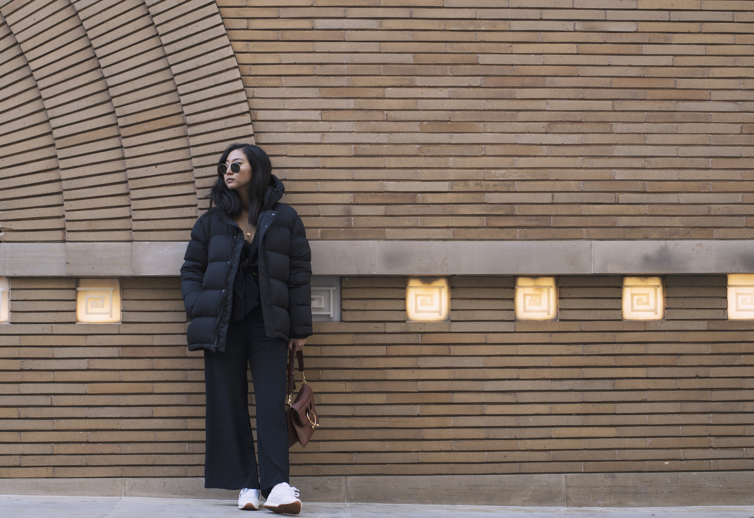 Coat: Aritzia, Jumper: Shop Isalis, Sunglasses: Ray Ban, Shoes: Reebok, Purse: JW Anderson
