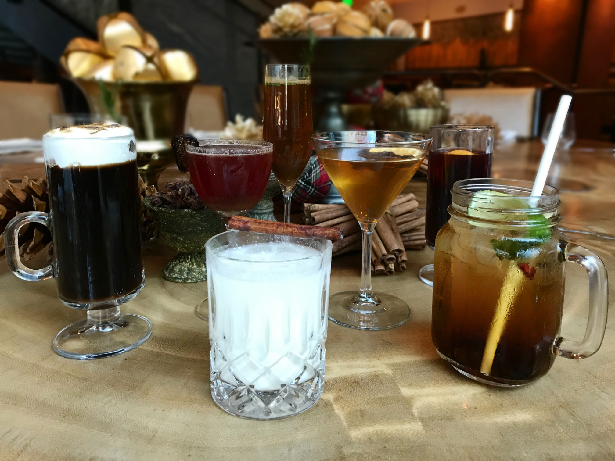 The family is all together for the season, the round of holiday cocktails. Photo courtesy of Bluestem Brasserie