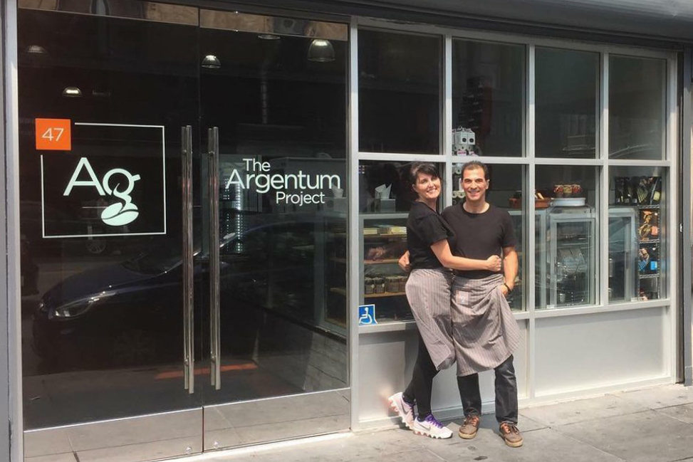 Owners Dimitrios and Katerina in front of their shop.