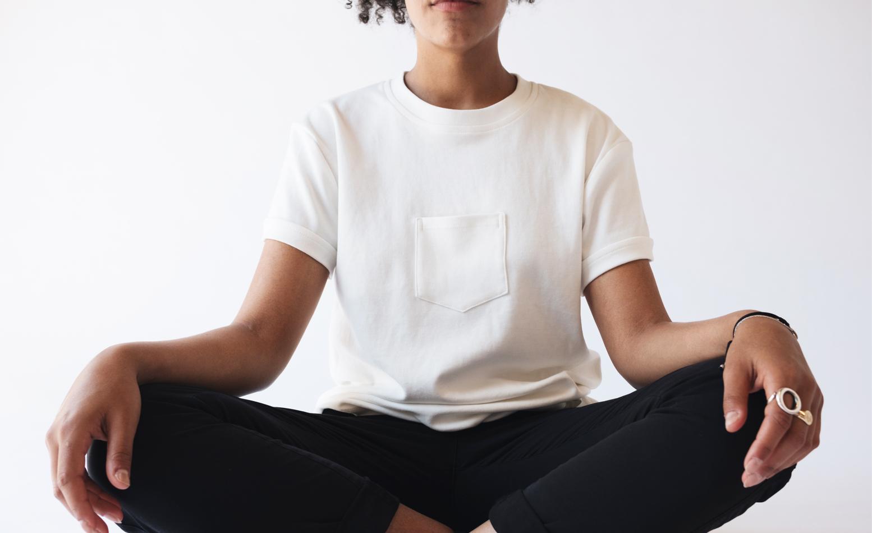Model wearing the Original Centered Pocket T-Shirt