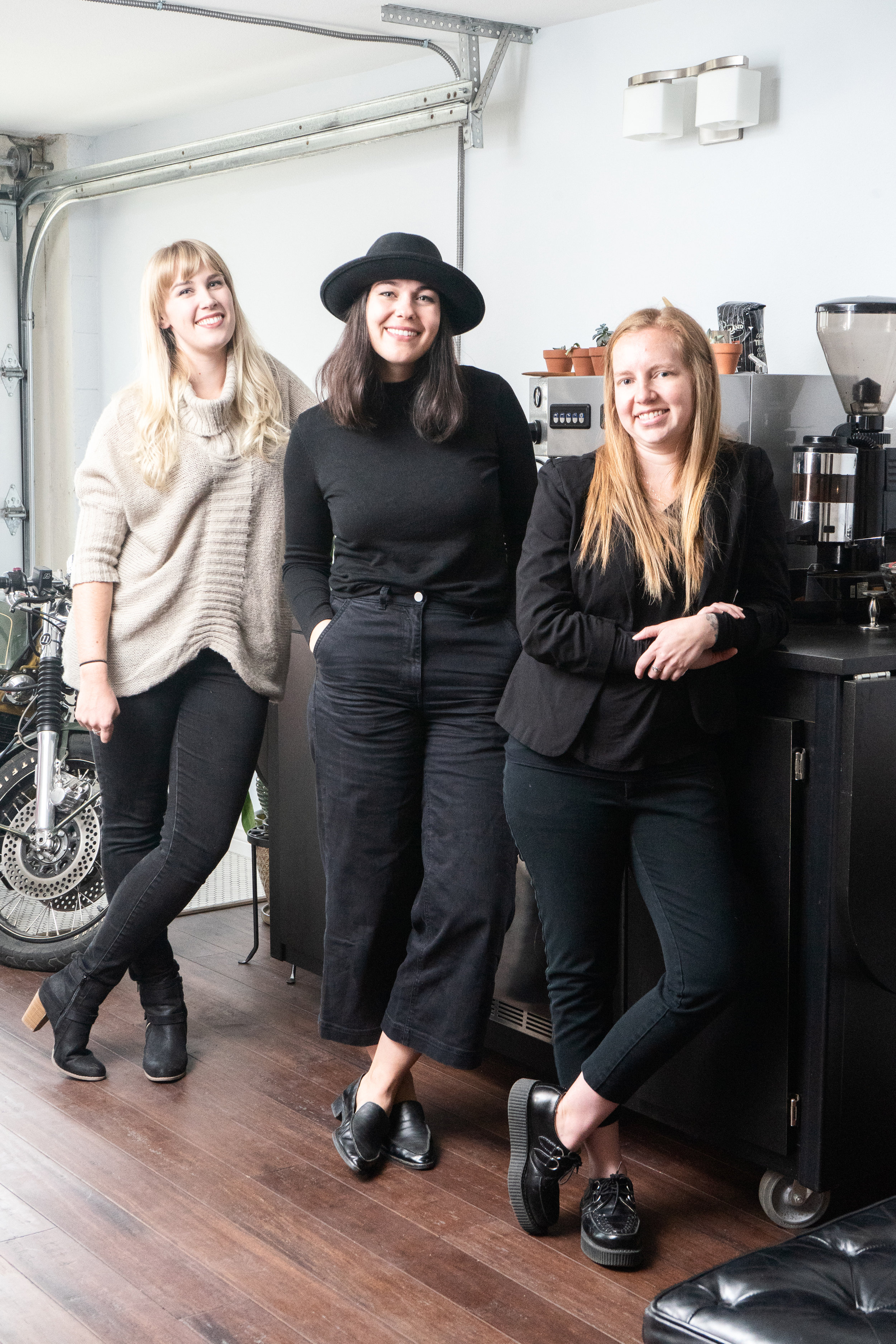 The executive ladies of Oakland Coffee including Kate Kaplan in the middle at Oakland Coffee's HQ in West Oakland.