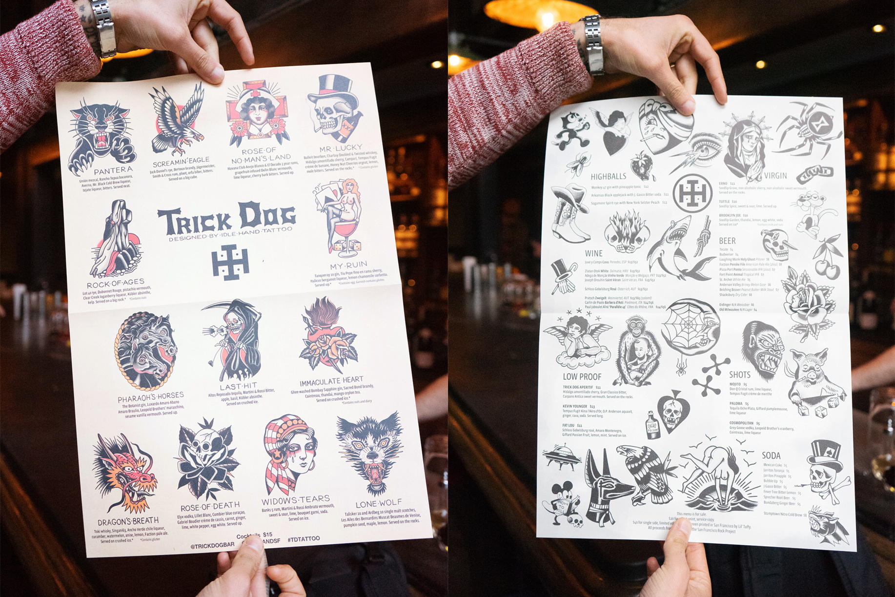 """The """"Flash Sheet"""" menu with the drinks, their ingredients, and the inspirations behind them."""