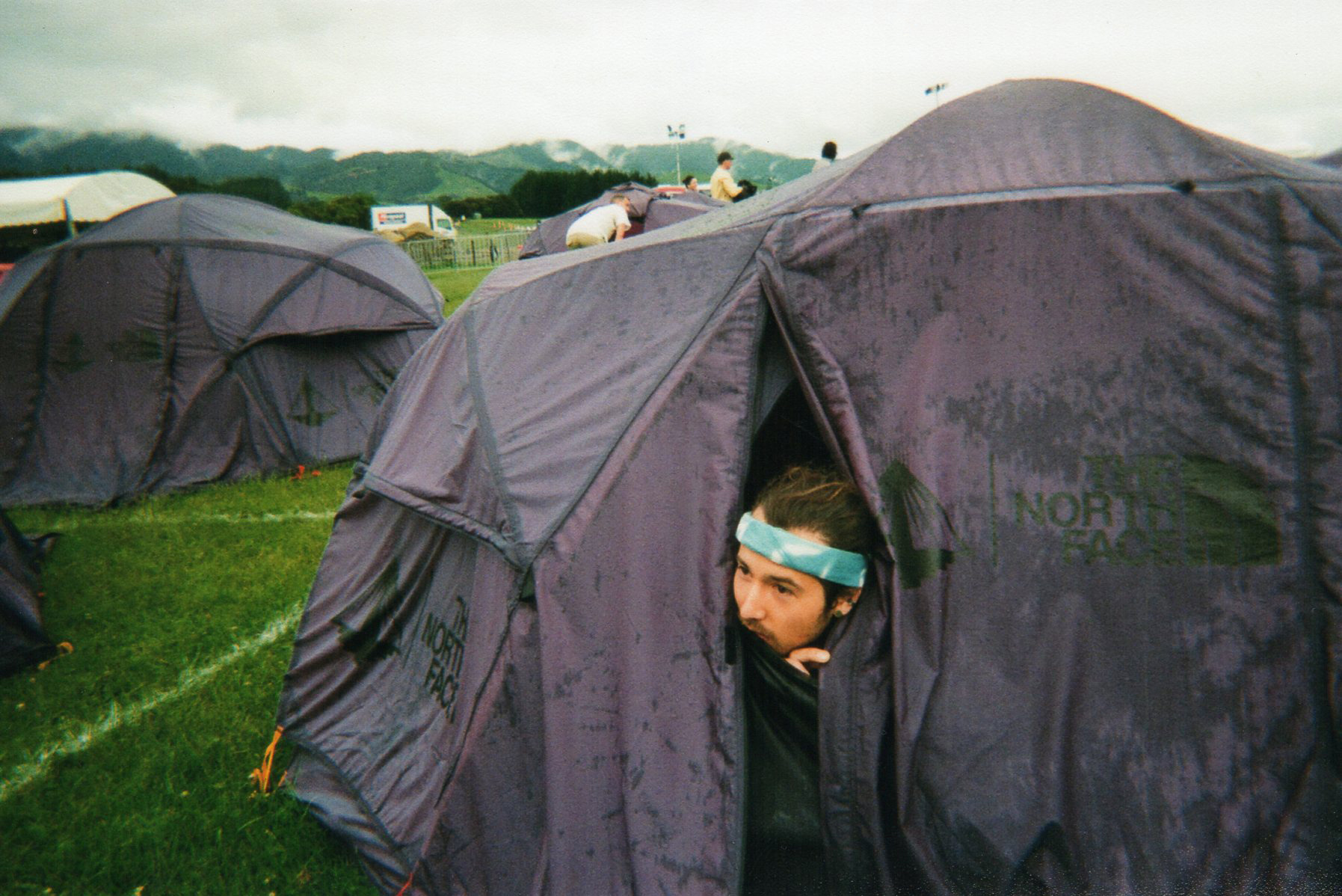 Inside the tents at Pharos, clearly living my life. It was very wet.