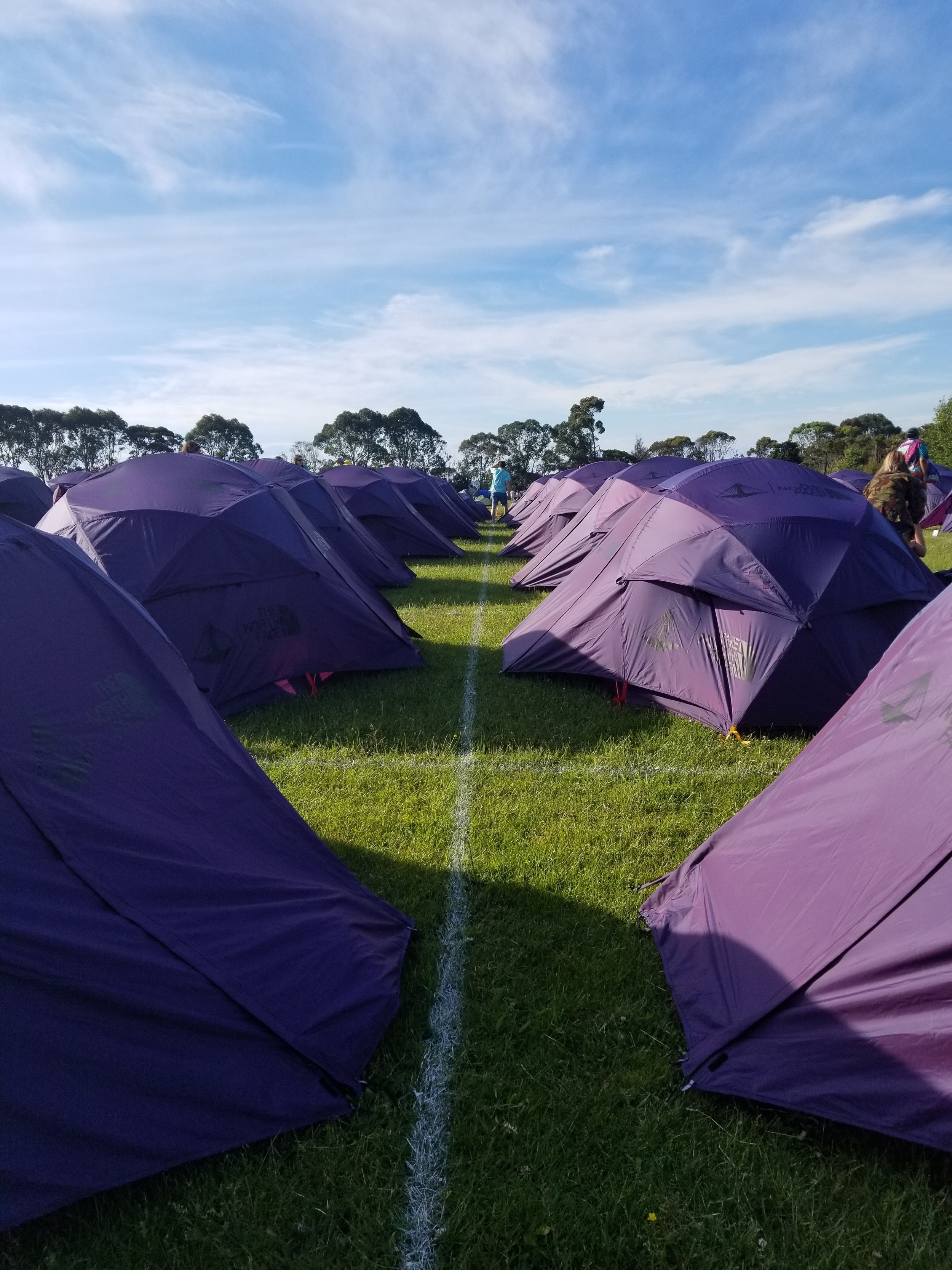 The lines of tents that we were accommodating.