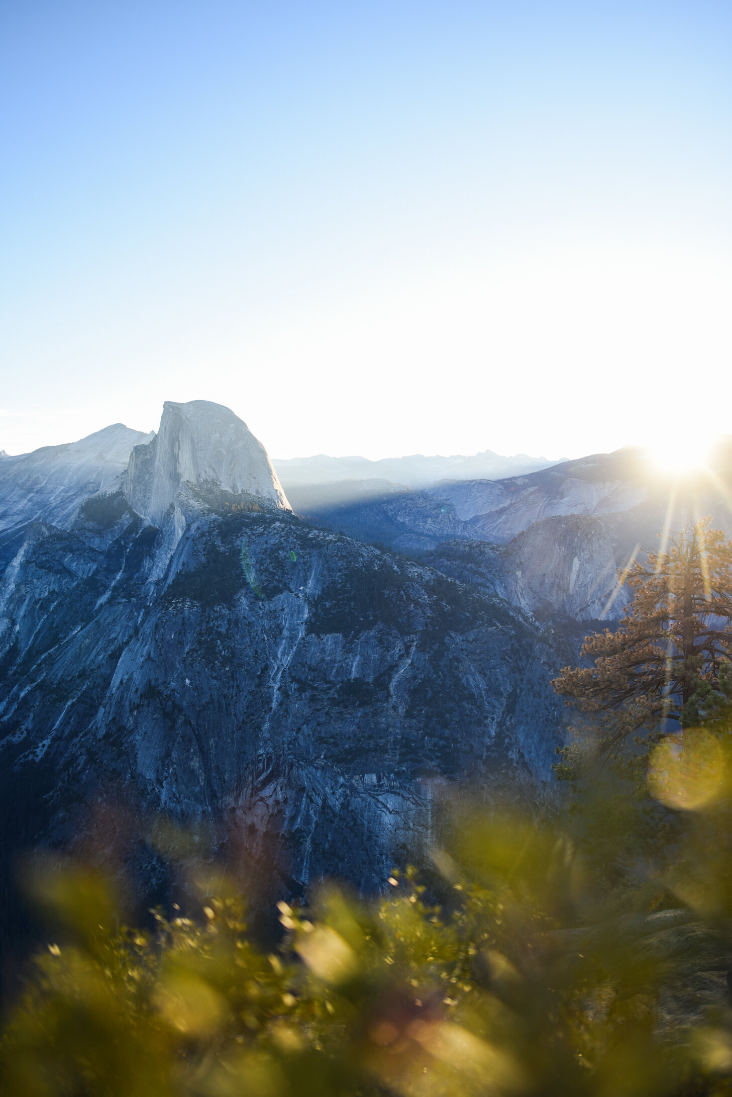 I have always been in awe of the natural phenomenon that is Alpenglow, and watching it highlight Half Dome from my favorite spot to watch the sunset in the Bay Area had me pinching myself. Crawling to the edge of the vantage point to capture the way this monument rolls down to the valley floor was well worth it. // Laura Morgan
