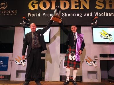David Fagan and Gavin Mutch trophy