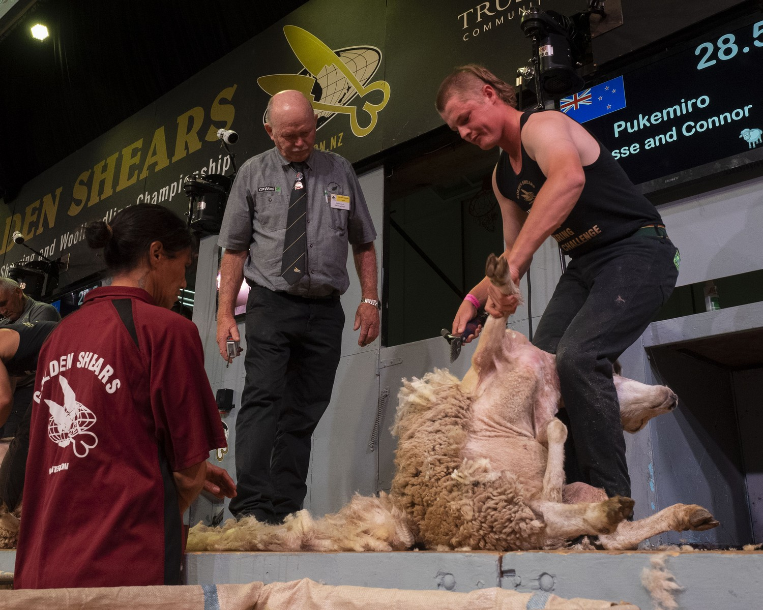 Connor McIntyre, of Pongaroa, shearing to Pukemiro Station's win in the students challenge among teams from four agricultural training courses.
