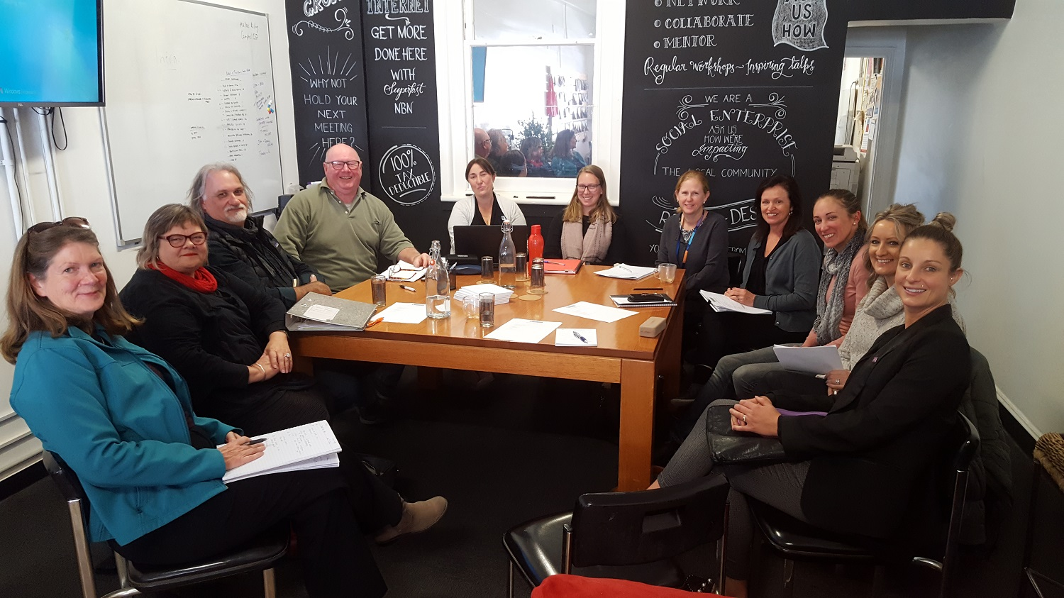 The Food for All Swan Hill region working group at a meeting held at Mallee Rising.