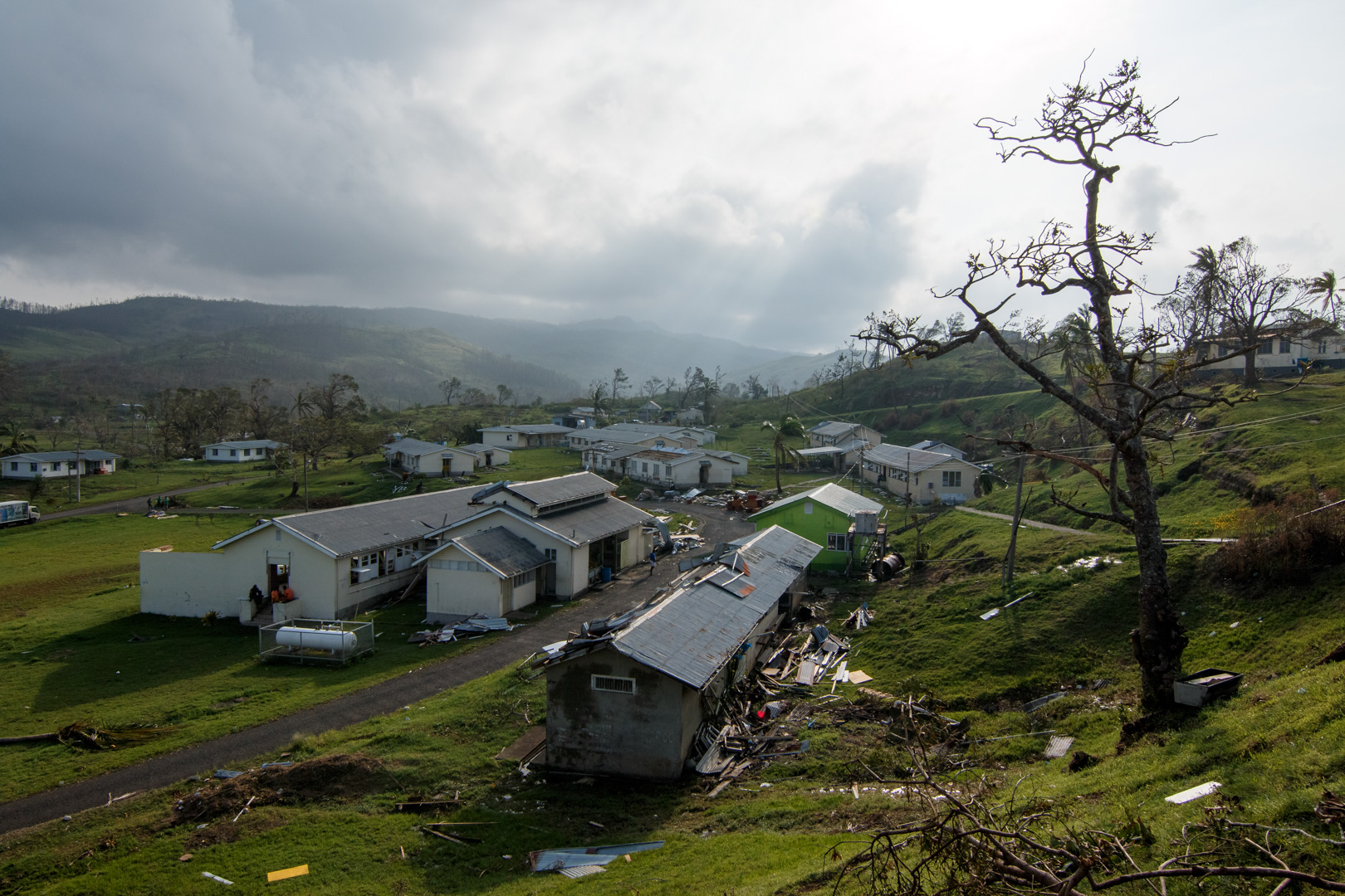 Damage done to the student dormitories of QVS boarding school in Tailevu, Fiji,after Cyclone Winston swept through the area on February 20, 2016.