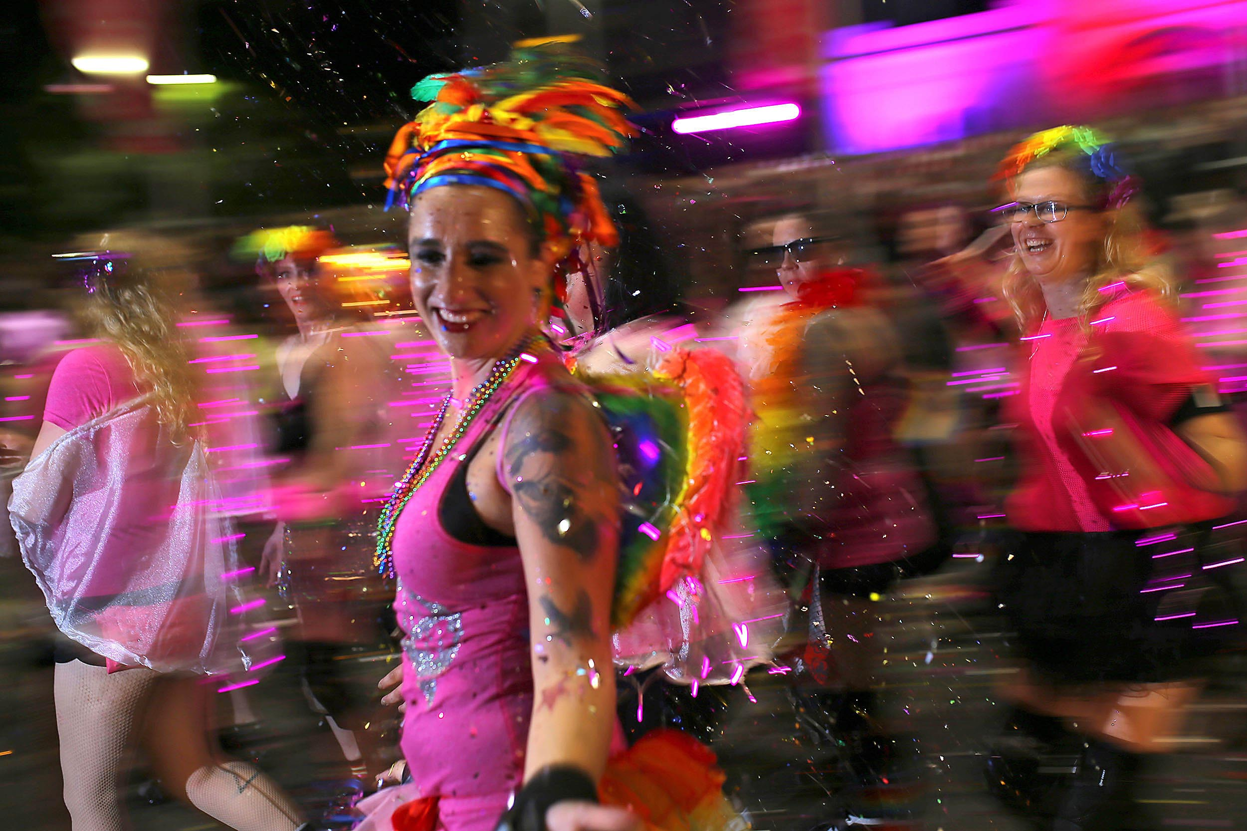 Participants march at the annual Sydney Gay and Lesbian Mardi Gras parade in central Sydney, Australia.
