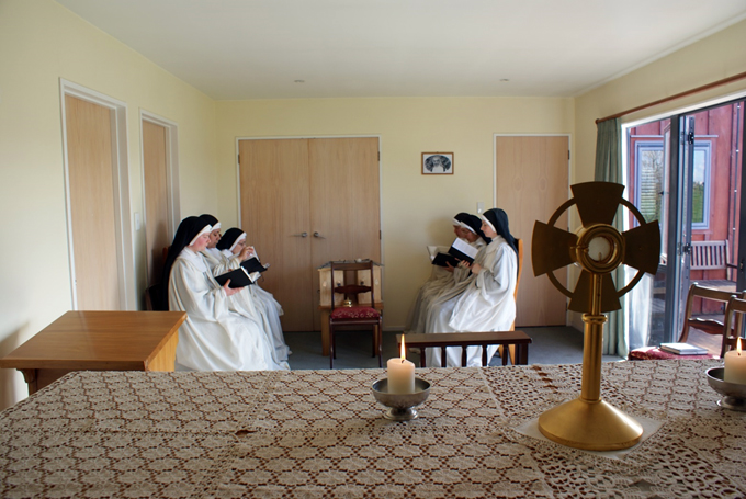 Singing the Divine Office in the Temporary Chapel, 2009
